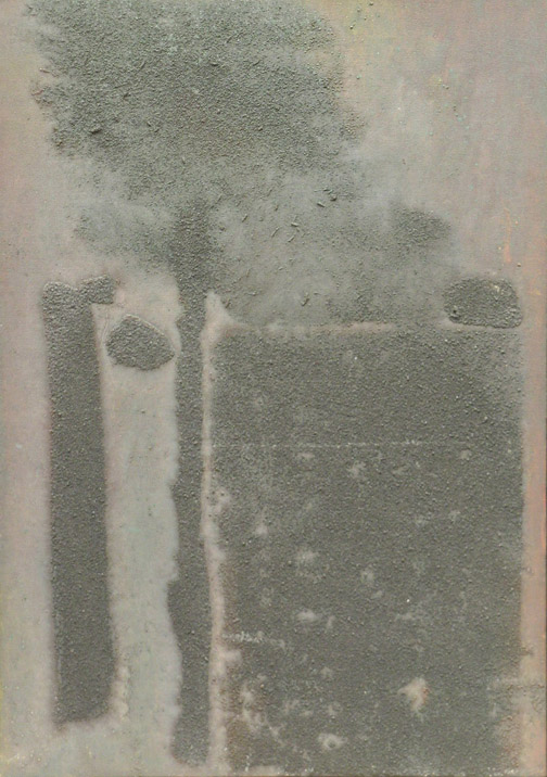 Ash Landscape,  1980 oil and sand on canvas, 20 x 14 inches