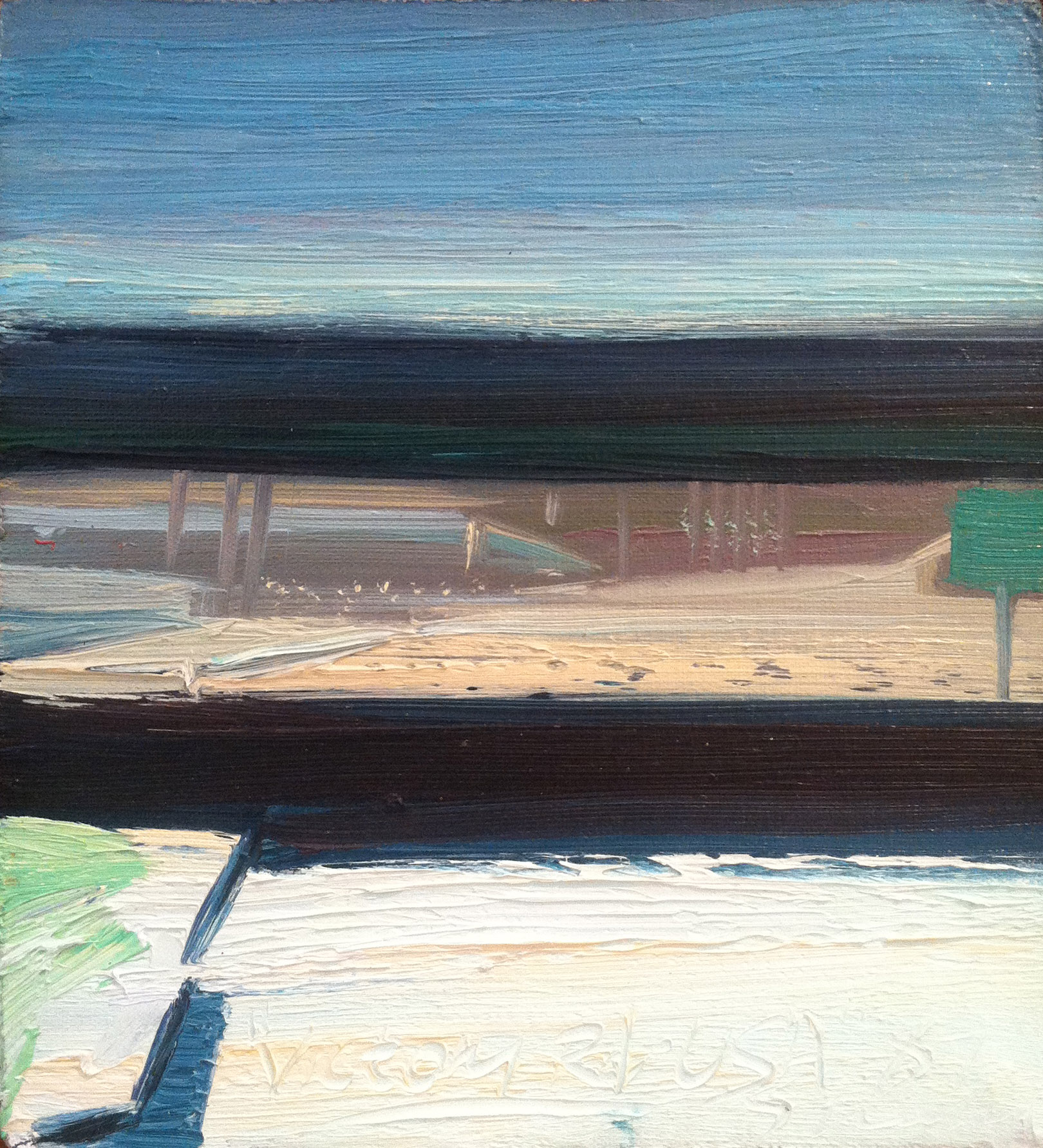 Victory Road, USA,  1987 oul on canvas, 10 x 9 inches