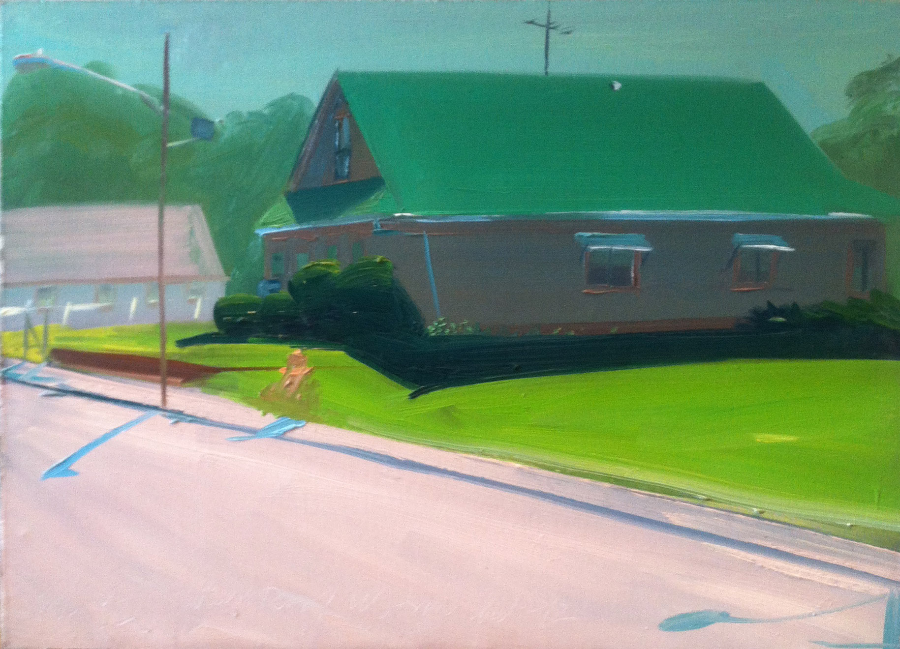 Green Roof, Woonsocket 1992,  1992 oil on canvas, 20 x 28 inches