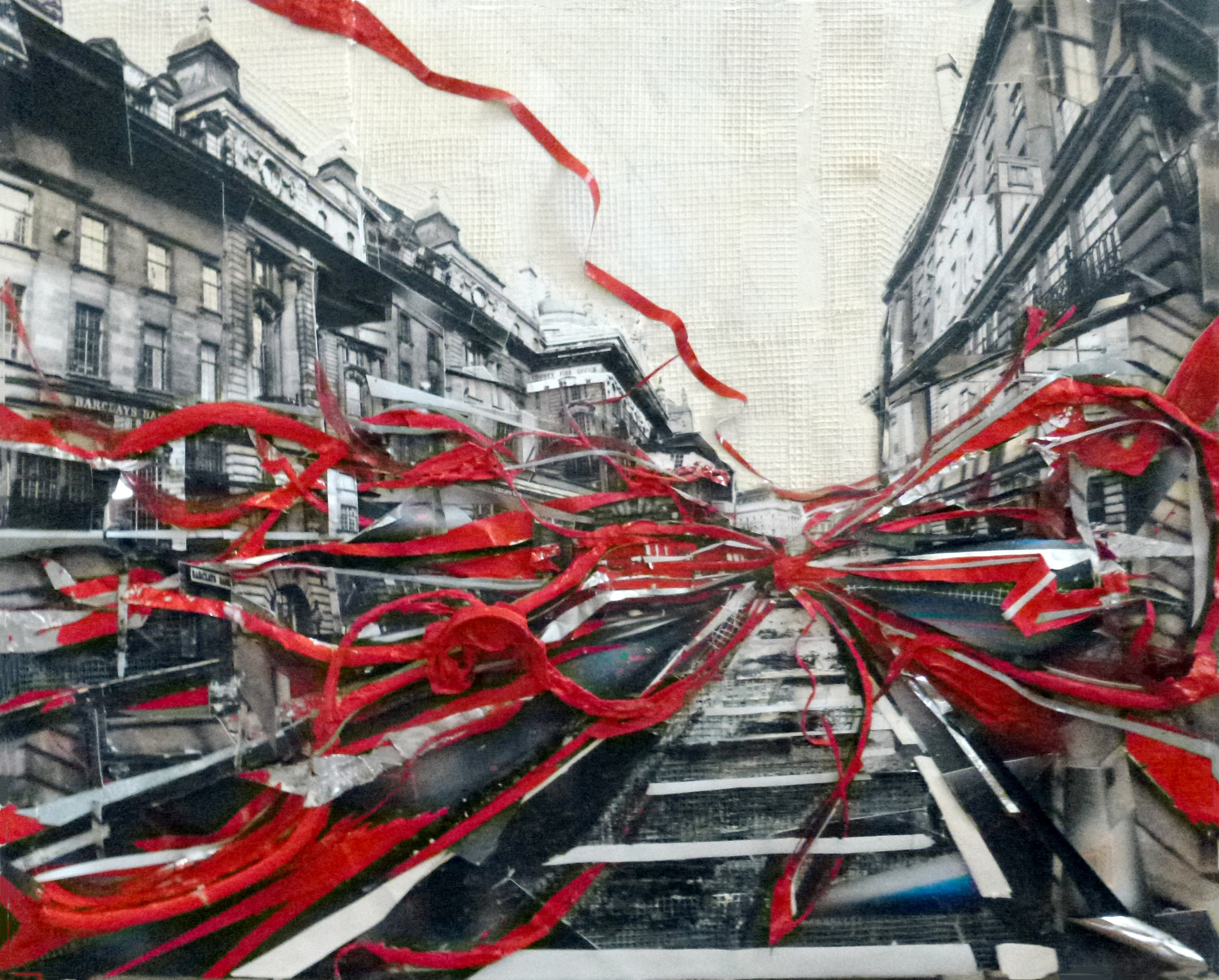Passing Through London,  2015 mixed media, 16 x 20 inches