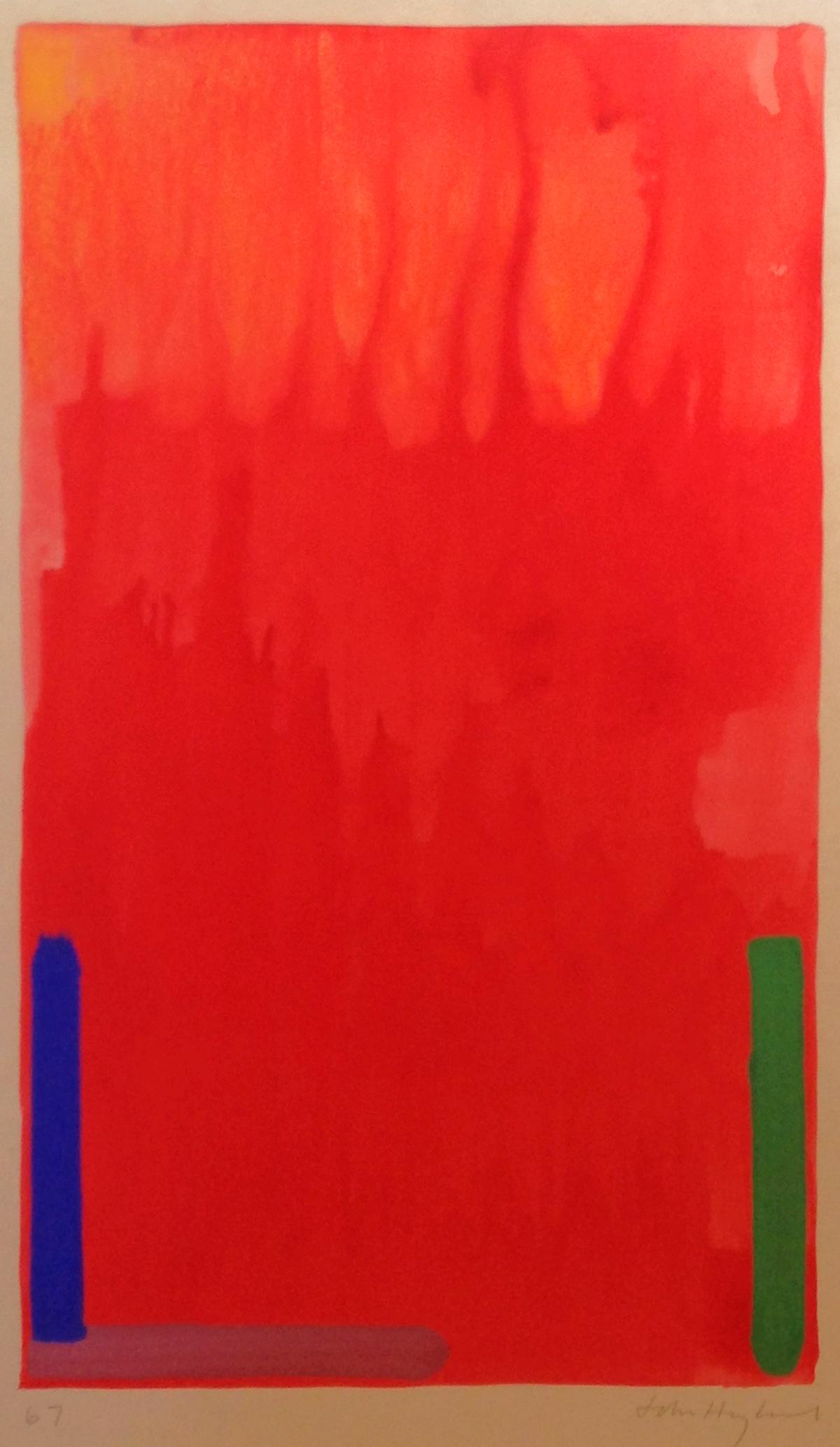 John Hoyland untitled, 1967 watercolor, 26 1/4 x 15 1/4