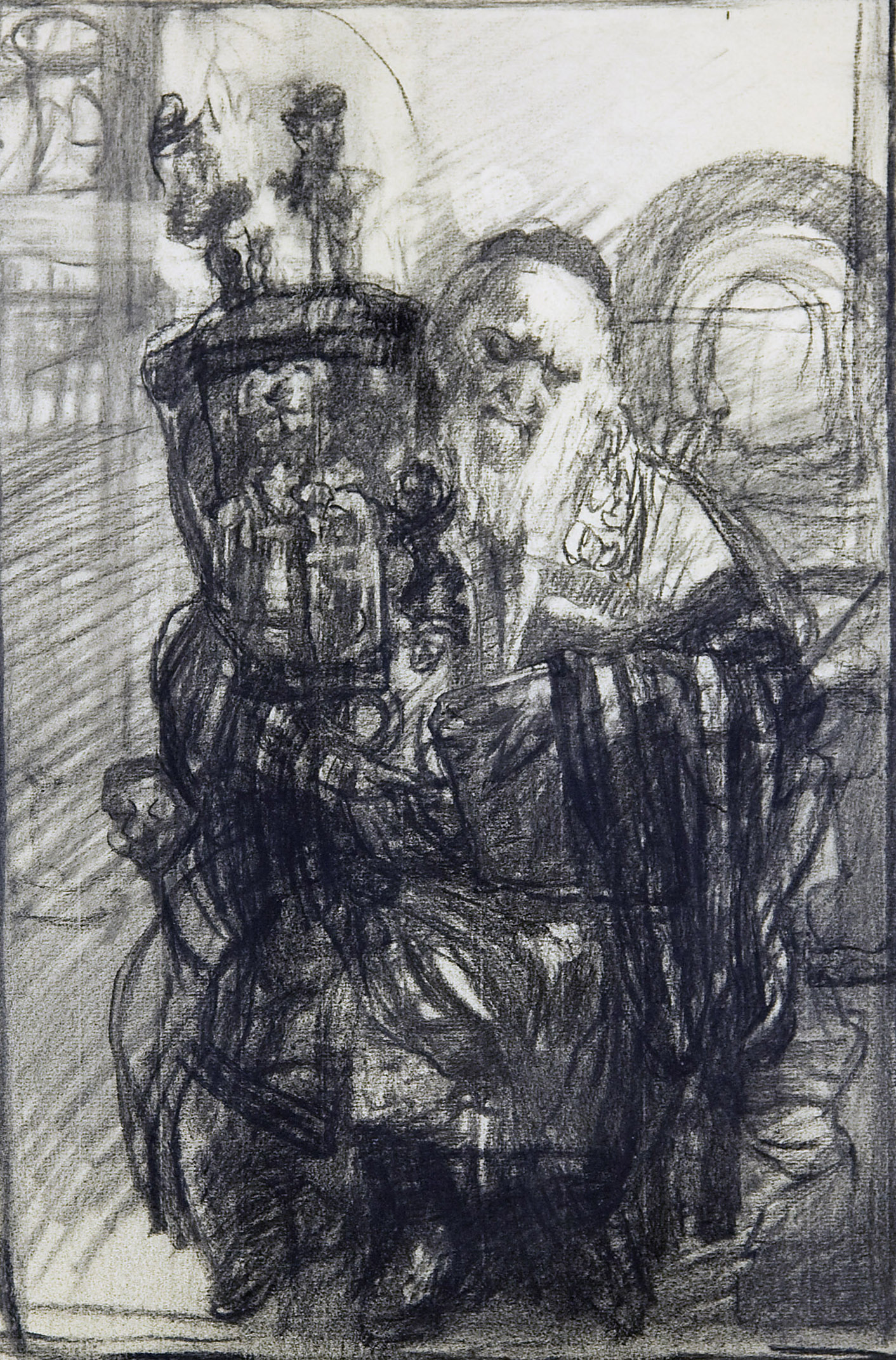 Hyman Bloom  Rabbi with Torah,  1960s charcoal on paper, 18 x 11 1/2 inches