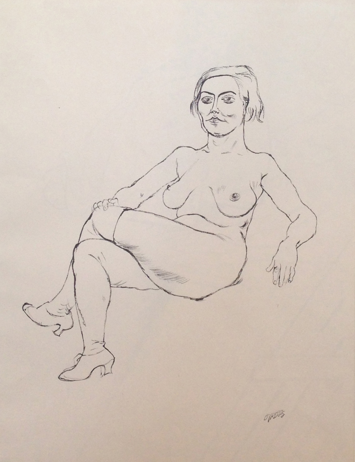 George Grosz double sided drawing, ca. 1924 verso:  Nude  ink & brush with pencil on paper approx. 17 1/2 x 23 1/2 inches
