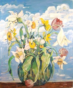Daffodils,  2000-2004 oil on canvas, 72 x 60 inches