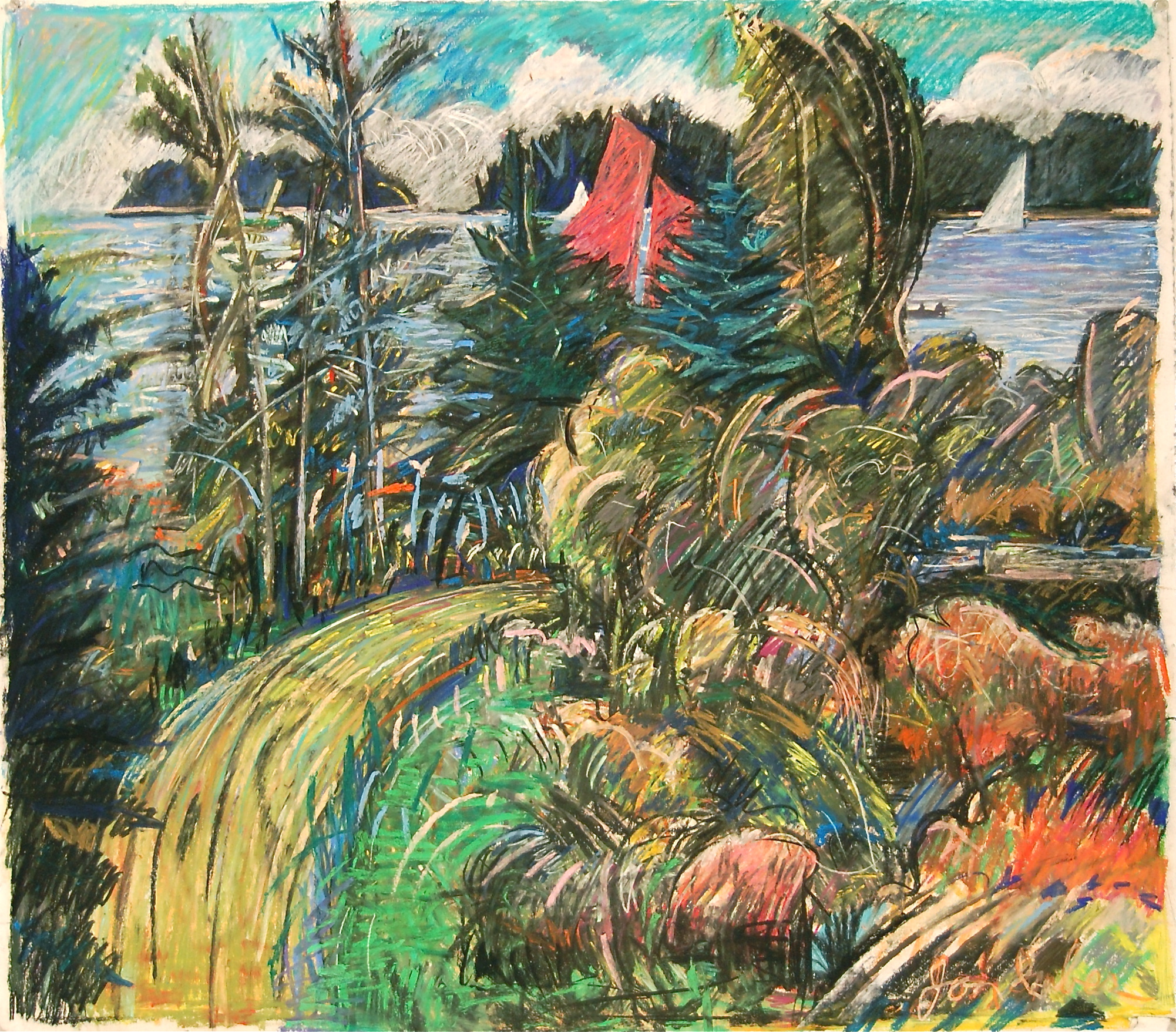 Sail, ca. 1995 pastel on paper, 34 x 38 inches