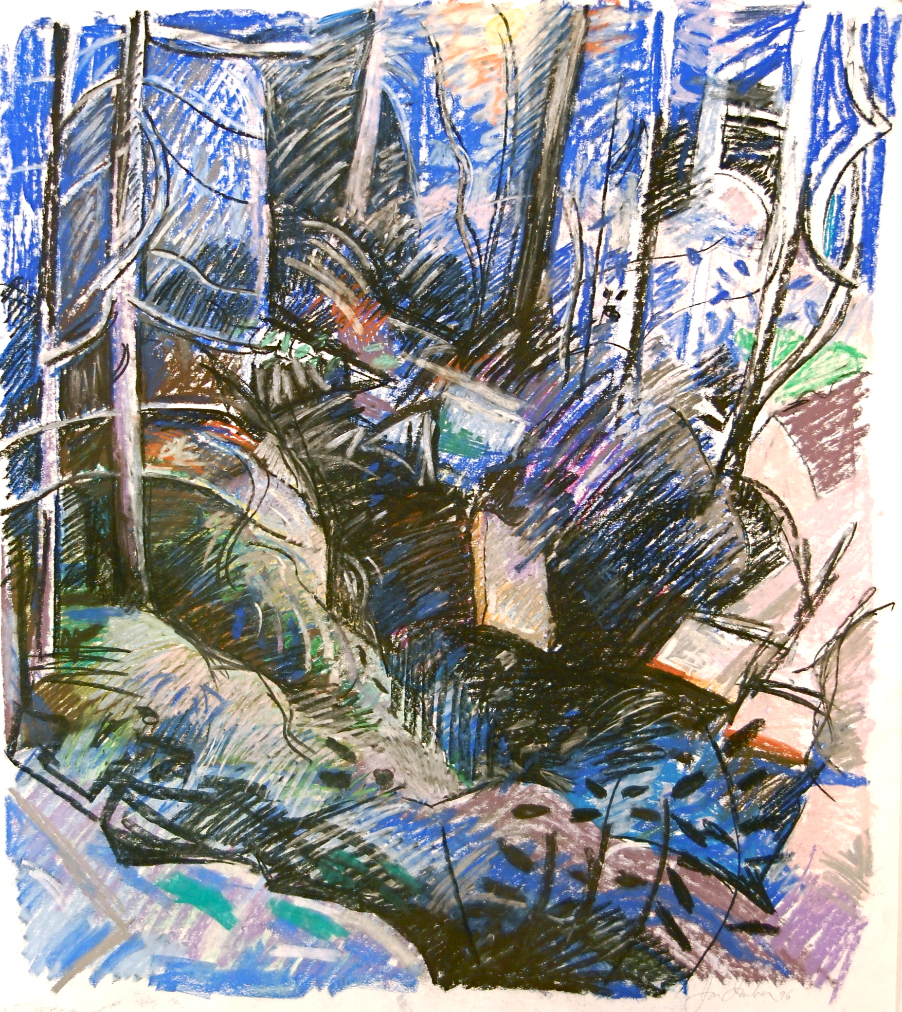 Cobalt Woods, 1996 pastel on paper, 38 x 34 inches