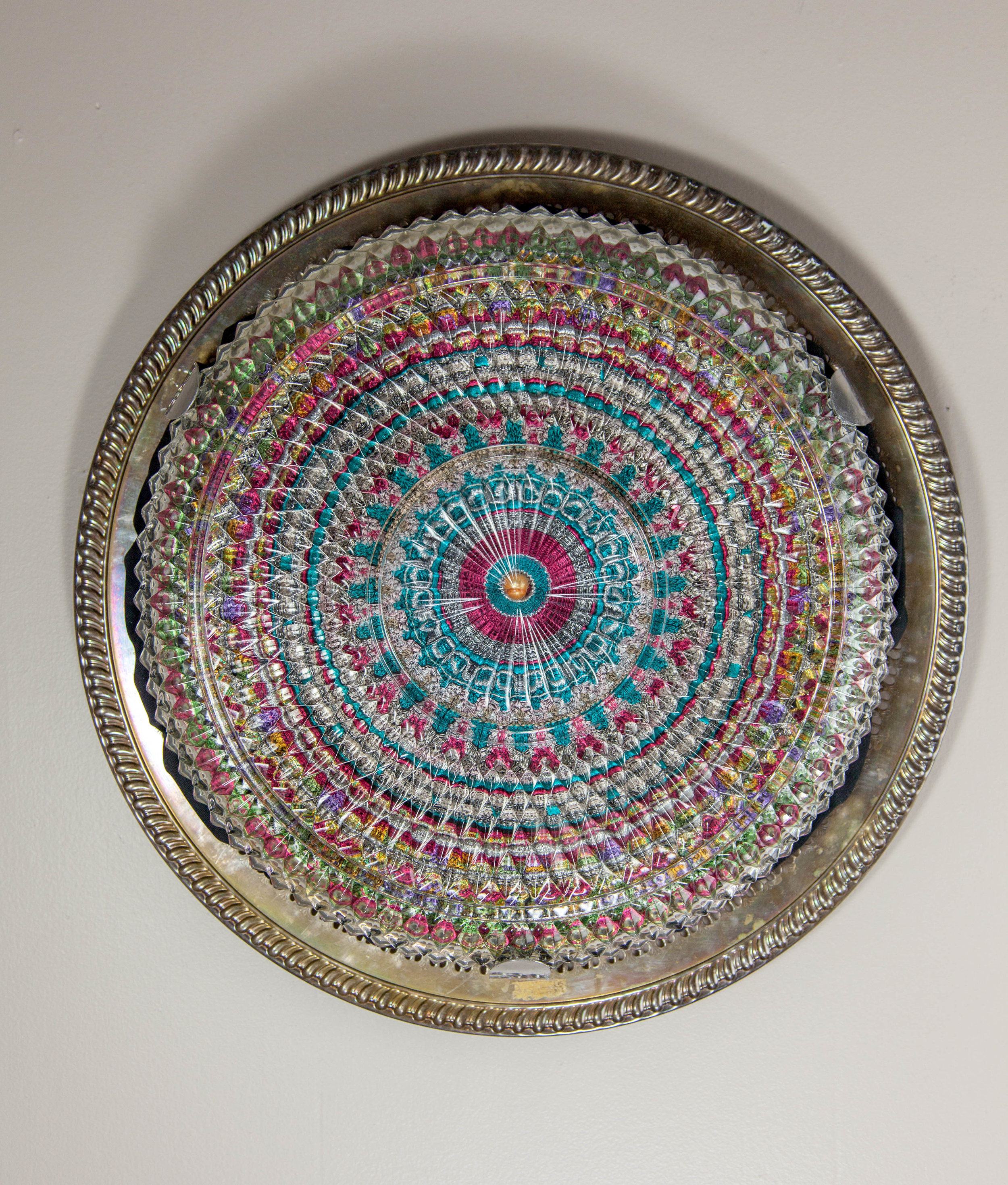Good Looking, 2017 Domestic objects, fabric, machine embroidery, pearl bead, stainless steel, monofilament, 15 1/2 x 15 x 3