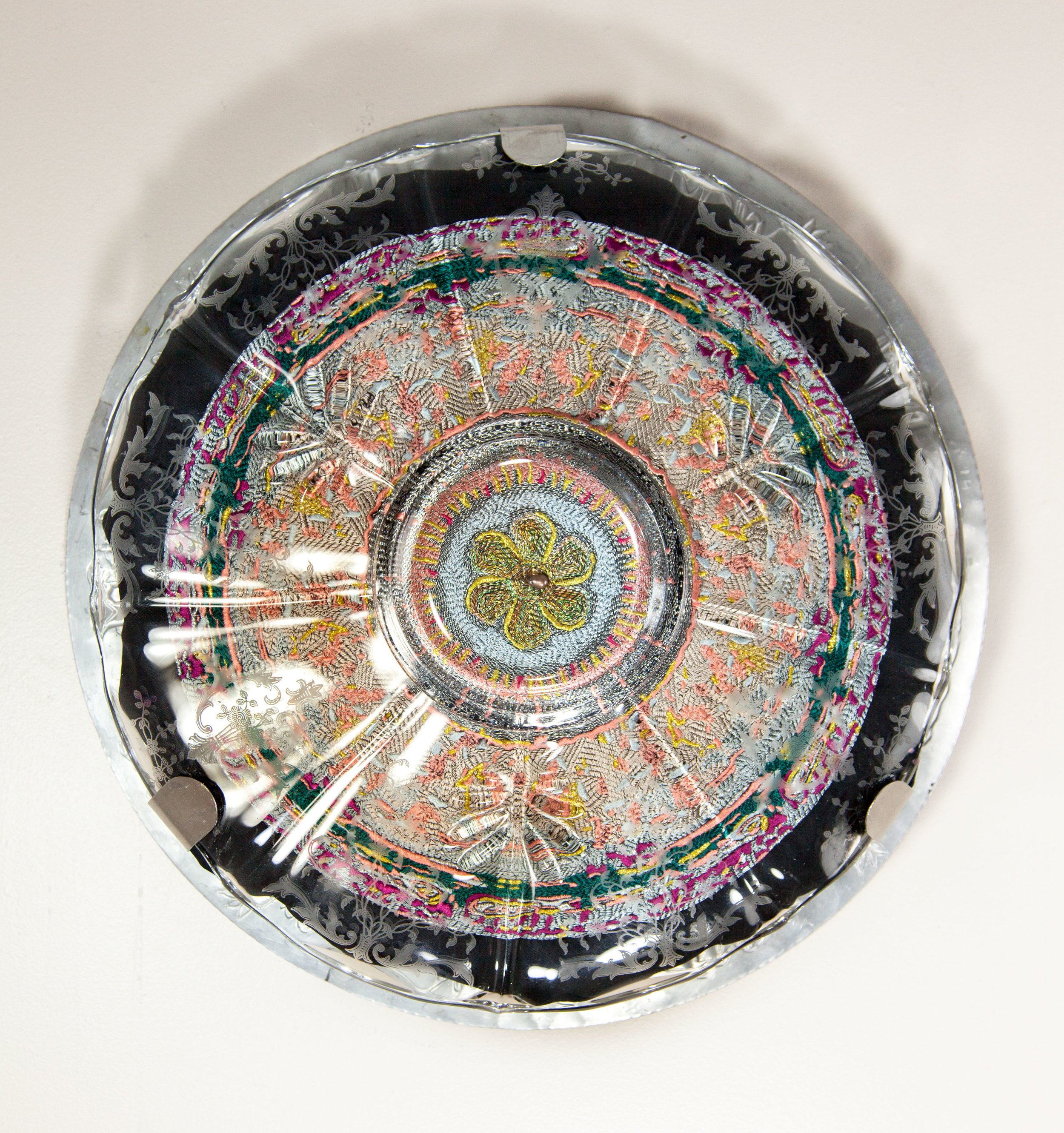 Good Looking, 2017 Domestic objects, fabric, machine embroidery, pearl bead, stainless steel, monofilament, 16 x 16 x 2 1/2 inches