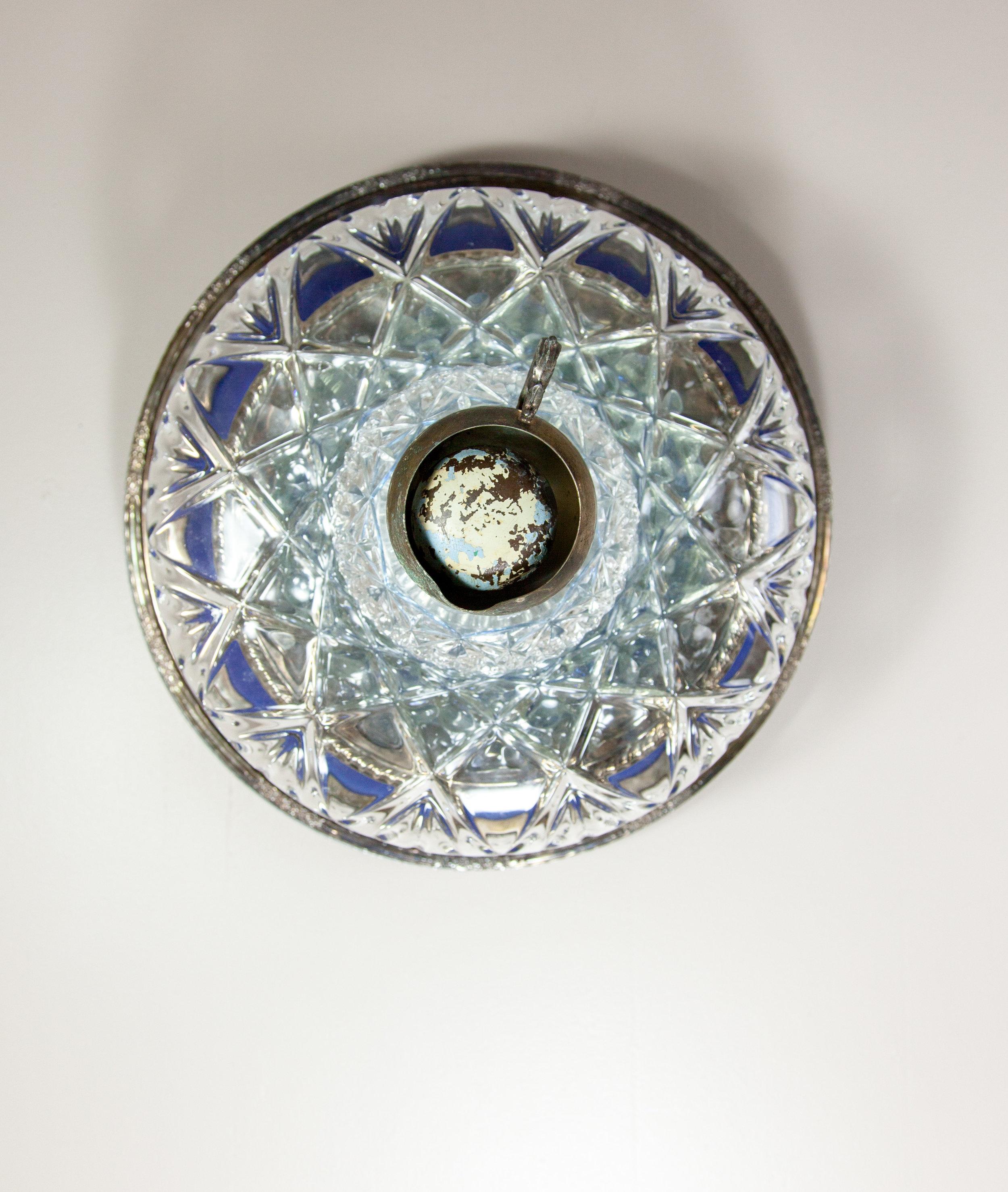 Occhi, 2017 domestic objects, doorknob, steel, 14 x 14 x 11 inches