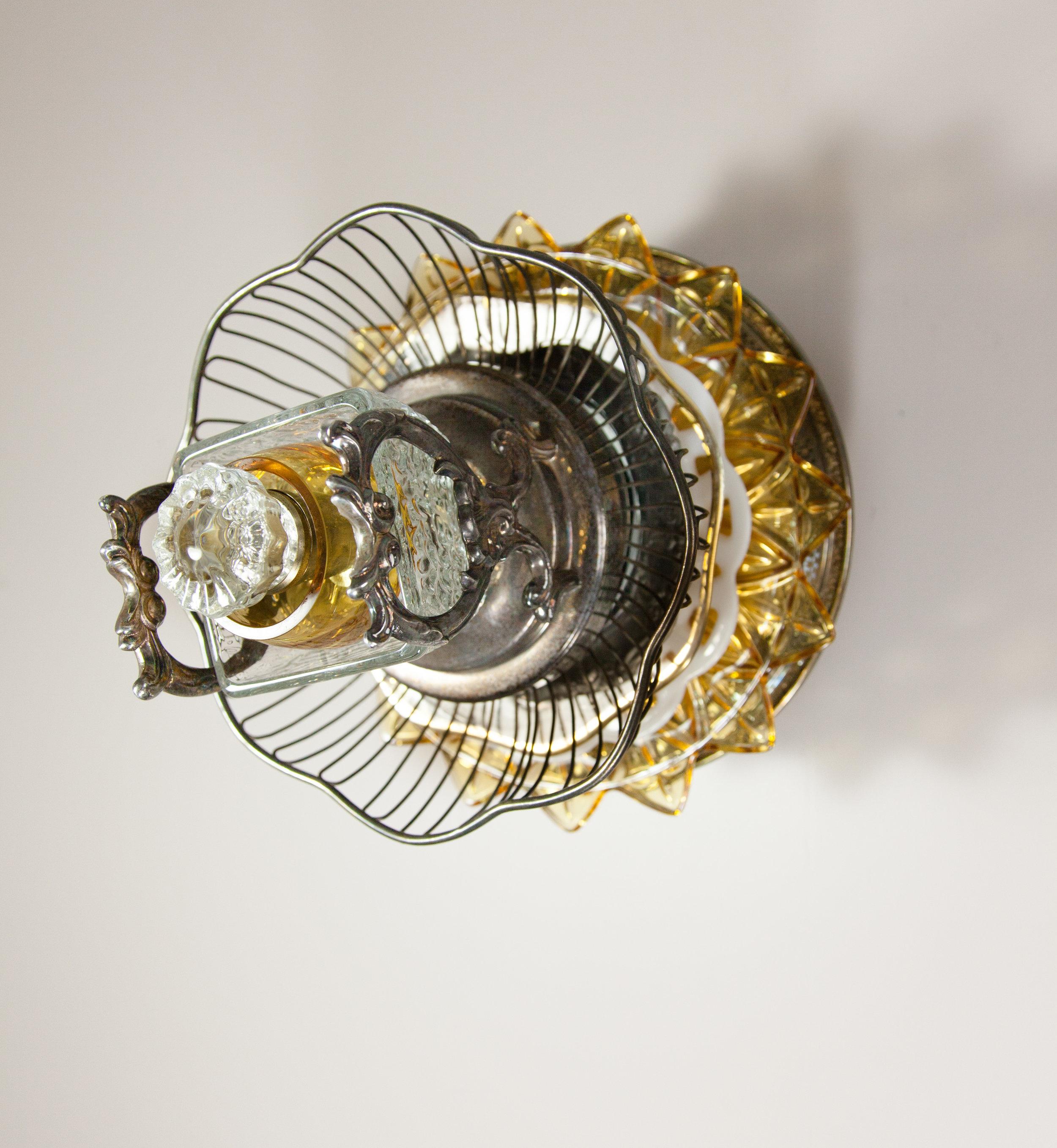 Occhi, 2017 domestic objects, doorknob, steel, 11 x 11 x 15 1/4 inches
