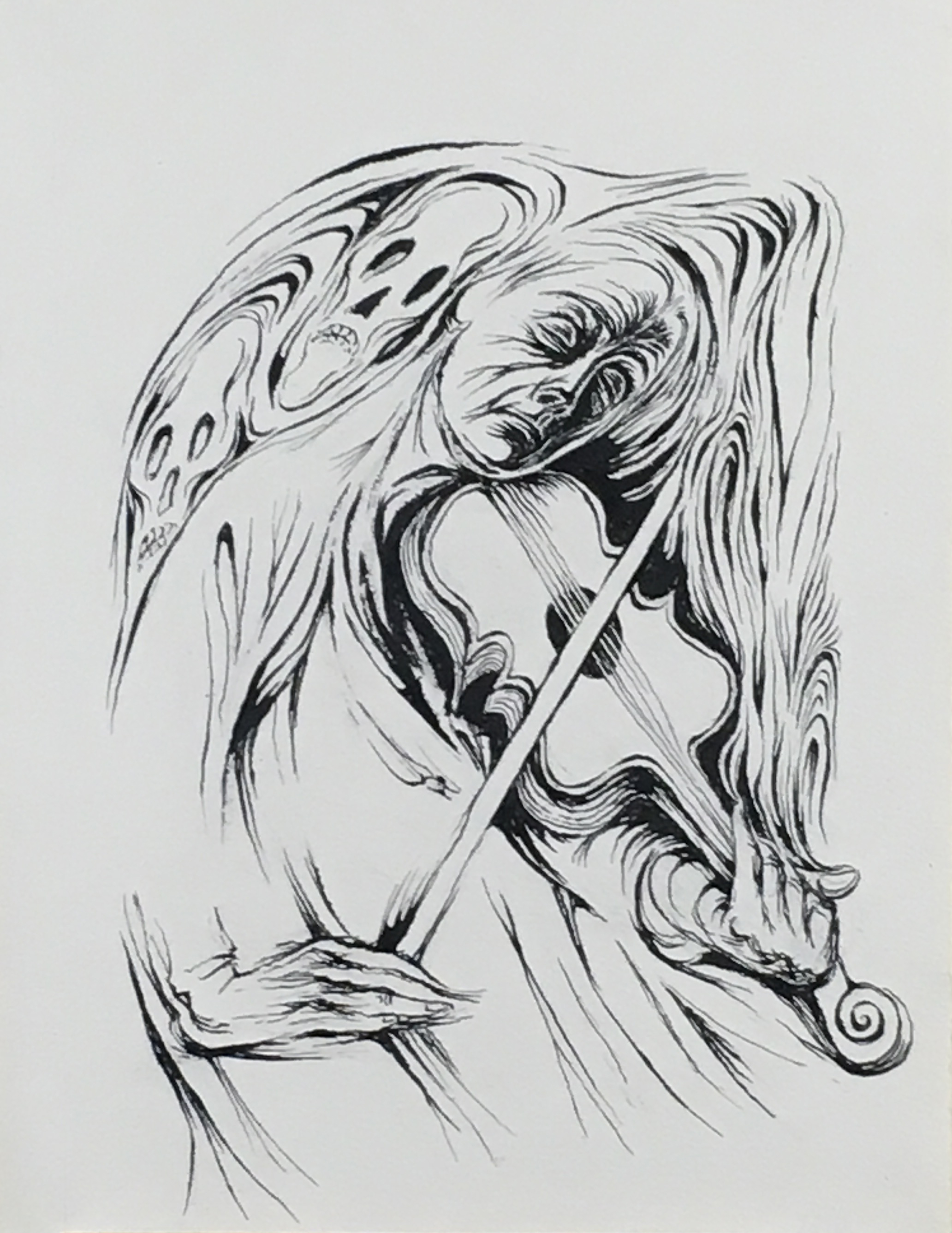 The Wonderful Musician,  1970-71 ink on paper, 16 x 12 inches