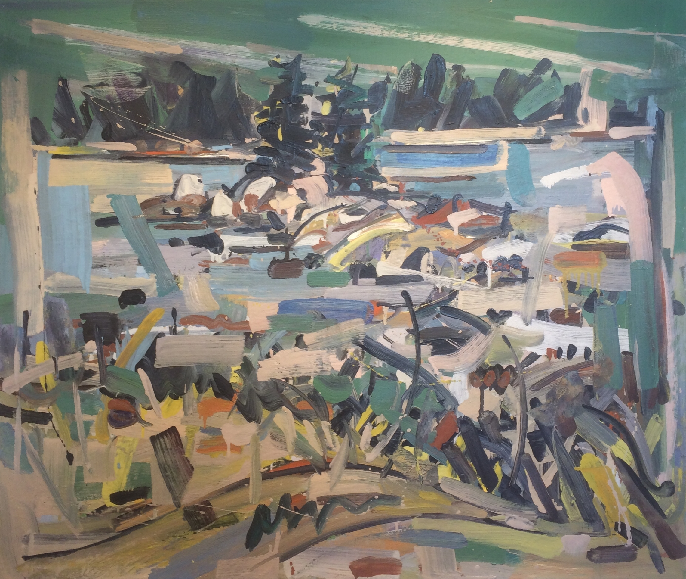 Two Pines Dow Ledges,  2002 oil on canvas, 38 x 45 inches