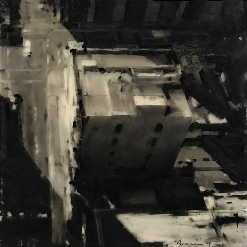 Rooftop, South End , 2018 charcoal on Mylar, 12 x 12 inches