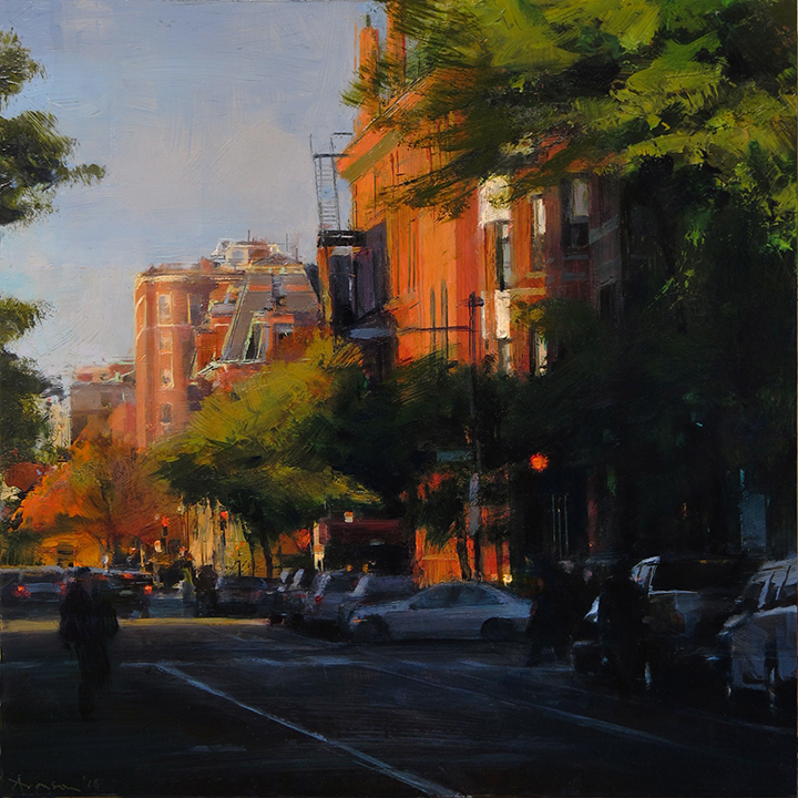 Back Bay Brownstones,  2018 oil on panel, 16 x 16 inches