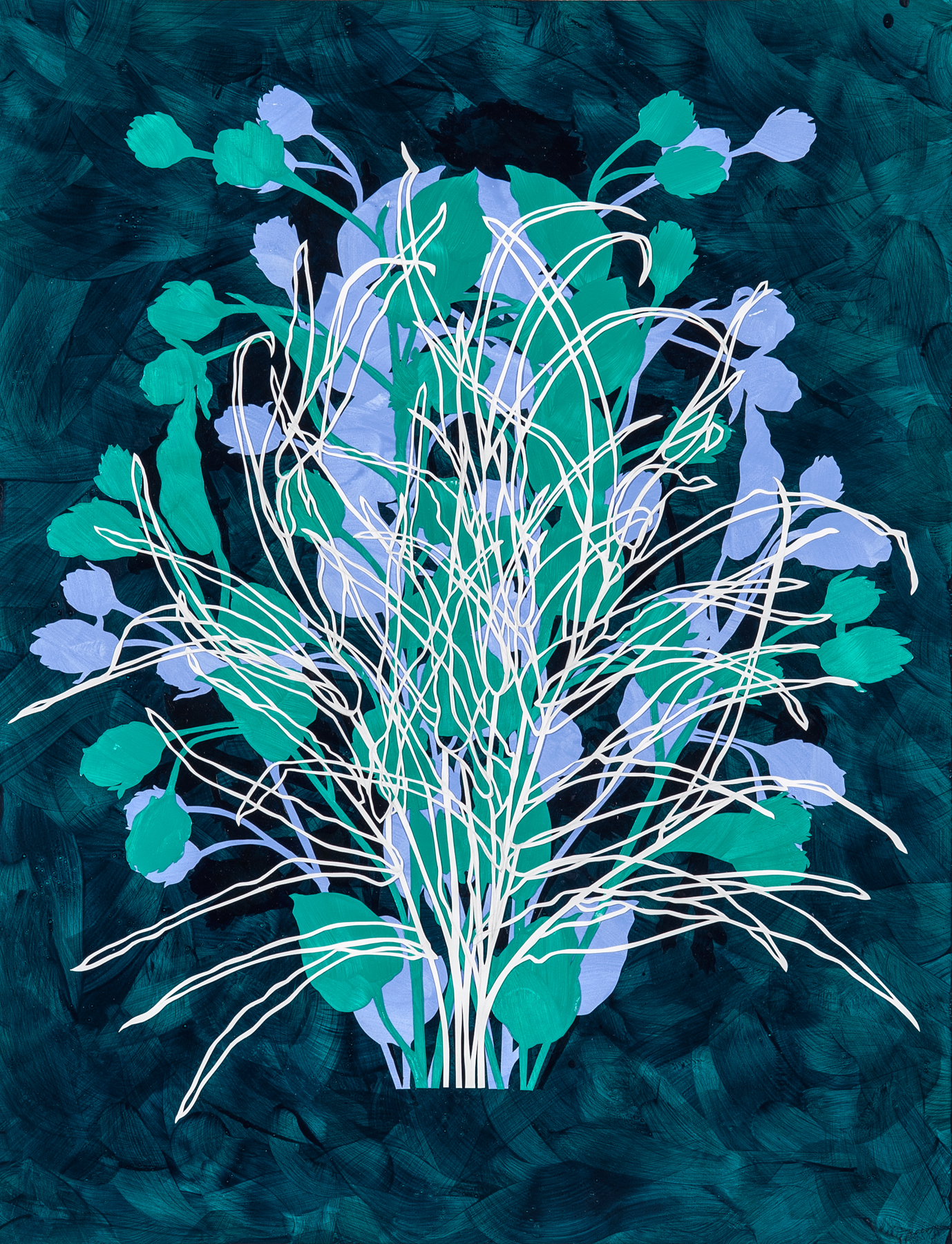 Botanic Construction V , 2018 hand-painted cut paper, 24 x 17 inches