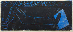 Night Nude , 1953 woodcut printed in blue & black, edition of 20 9 11/16 x 24 inches
