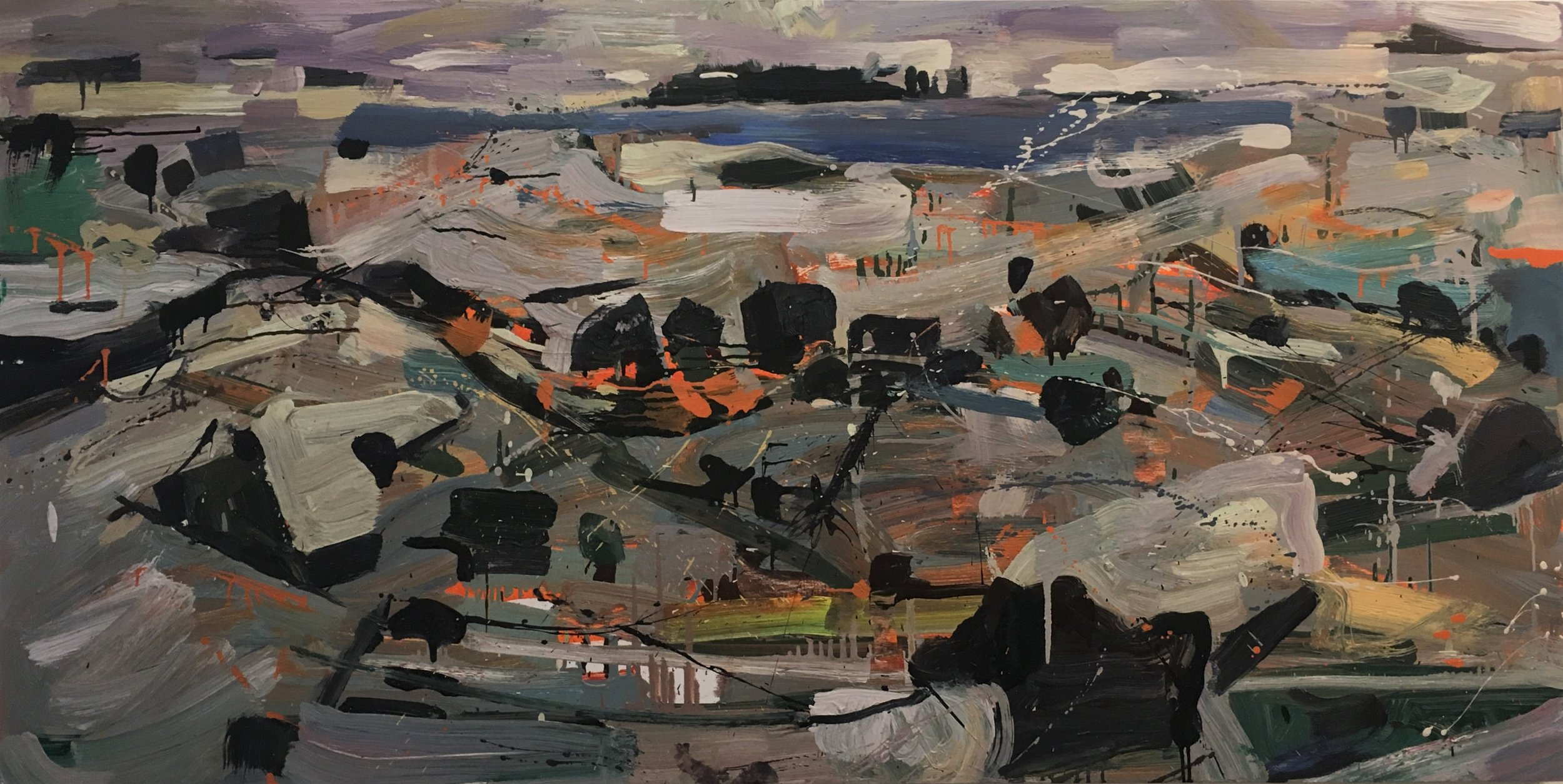 Grog Island , 2012-13 oil on panel, 30 x 60 inches