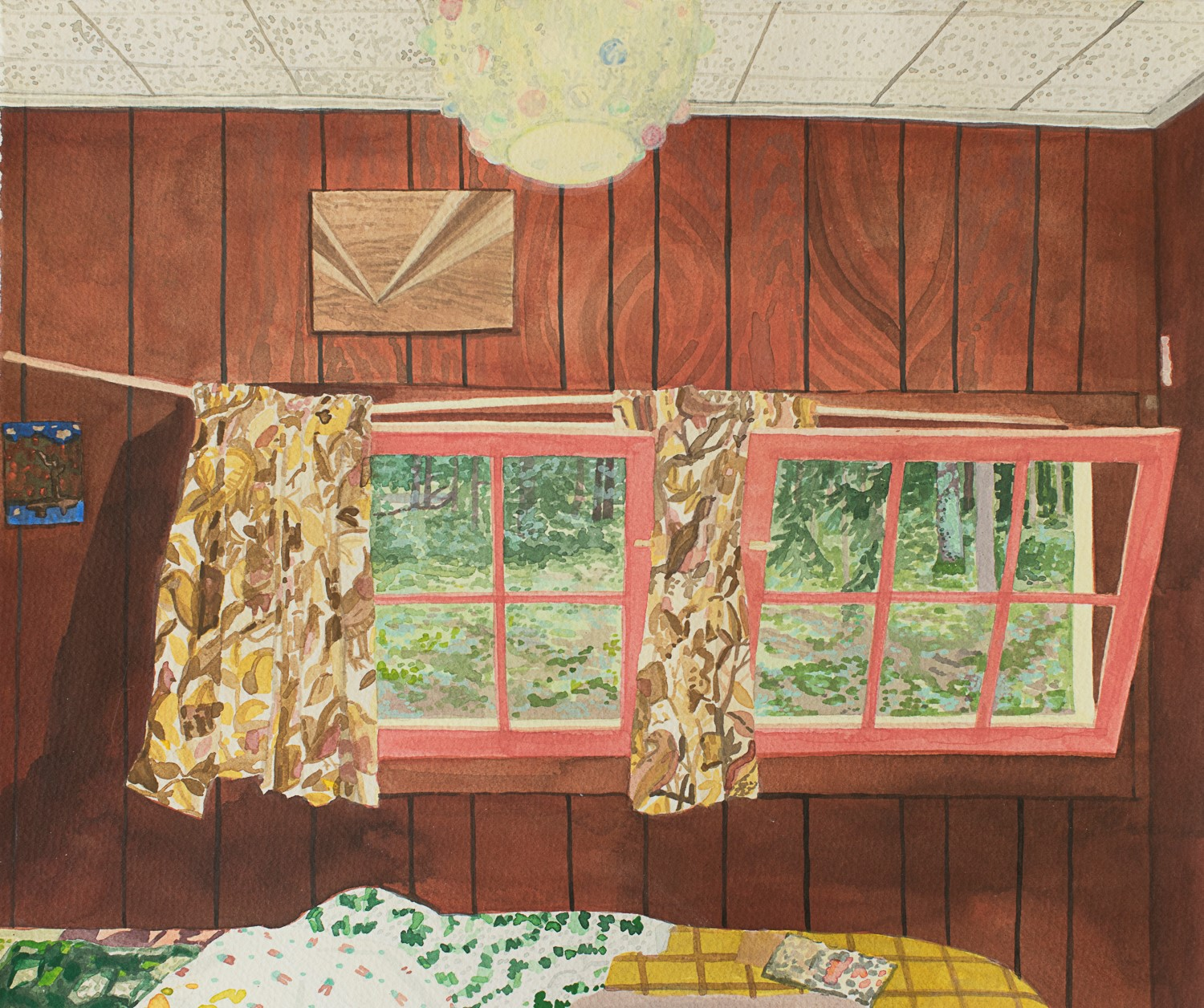 Breehan James  The Cottage: marble light bedroom,  2019 gouache on paper, 10 x 13 inches