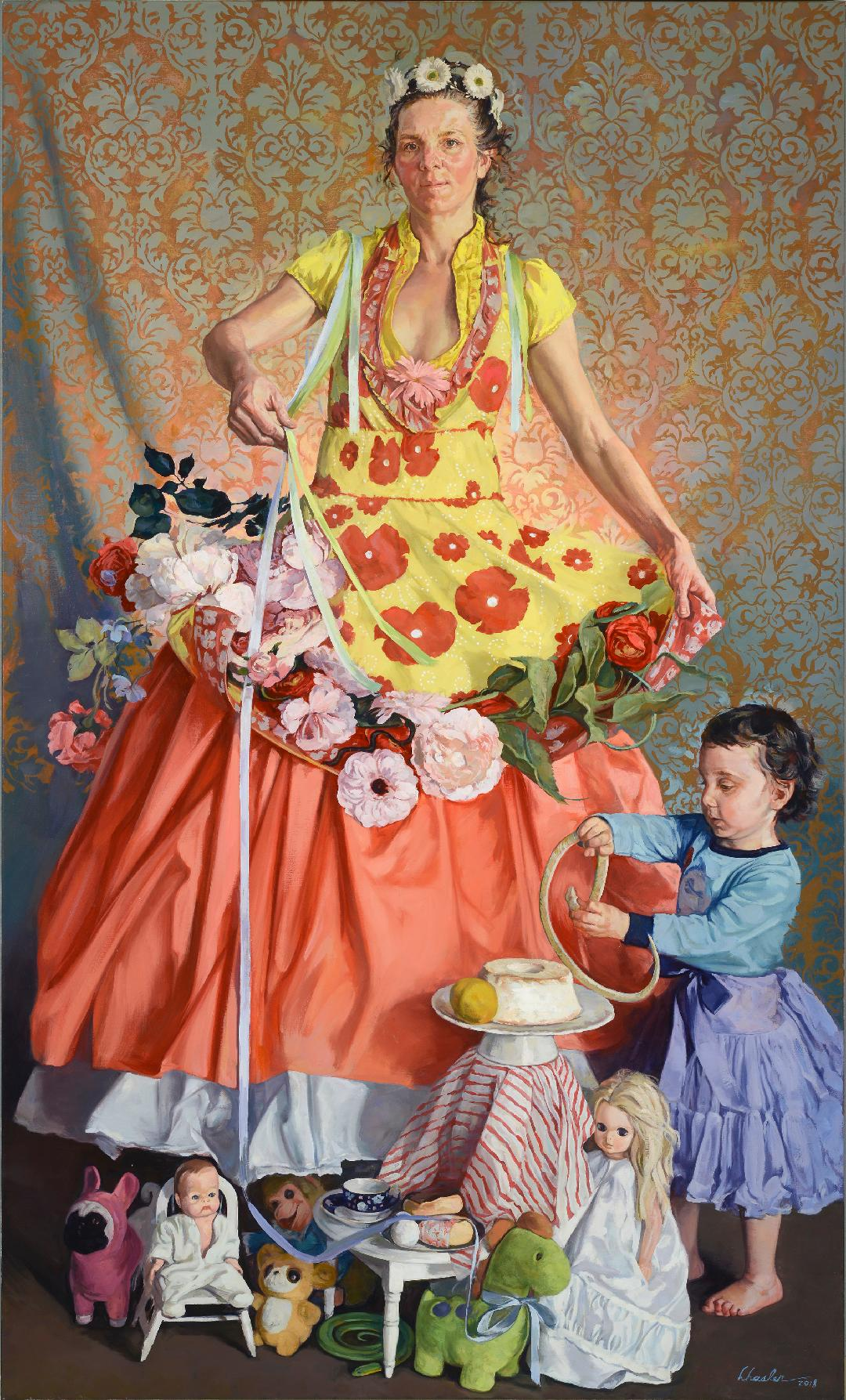 Mother and Child with Snakes and Ribbons , 2018 oil on canvas, 60 x 36 inches