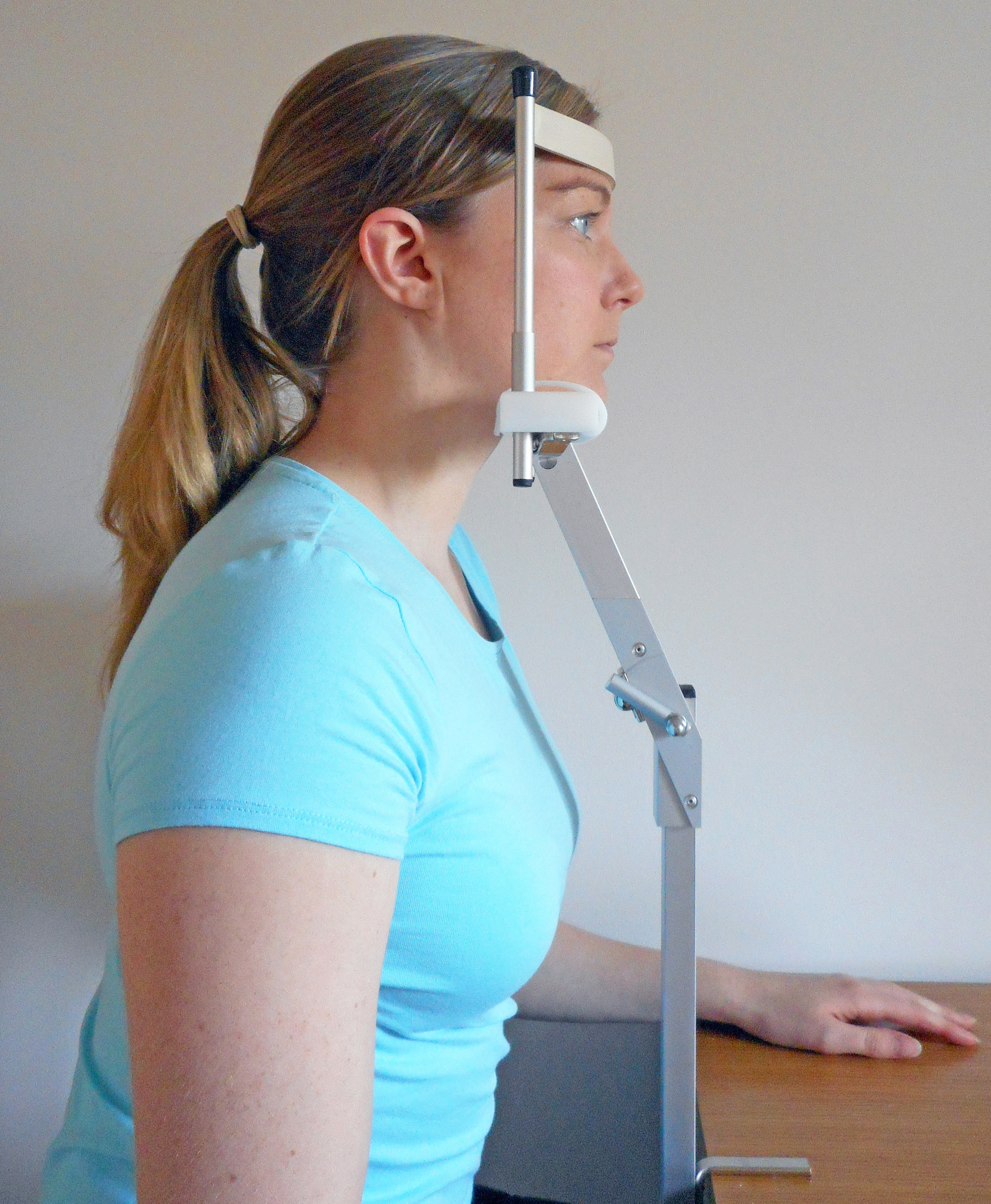 The RehaCom Chin Rest is helpful for visual field work