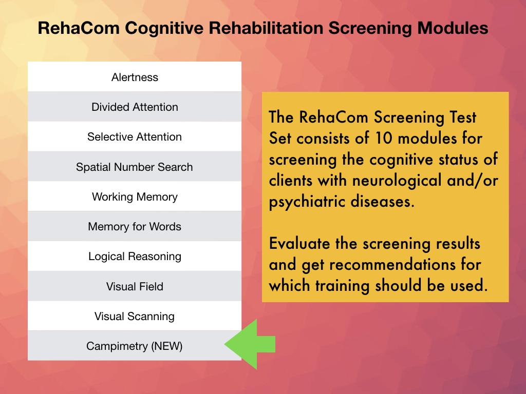 Campimetry is the latest RehaCom Screening Module helpful in Visual field screening