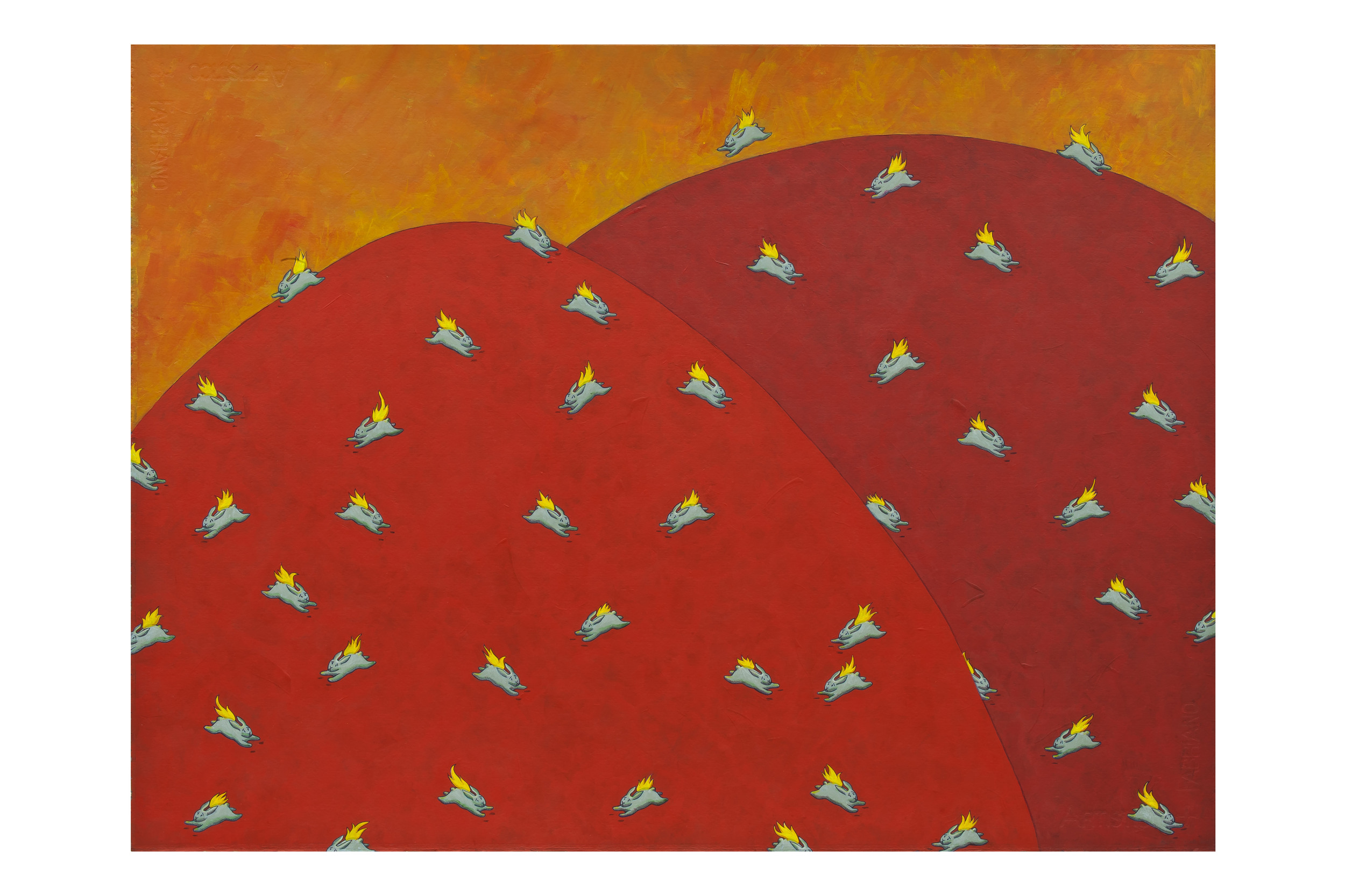 "Malibu Bunnies,  2012 Acrylic on paper, 22"" x 30"""