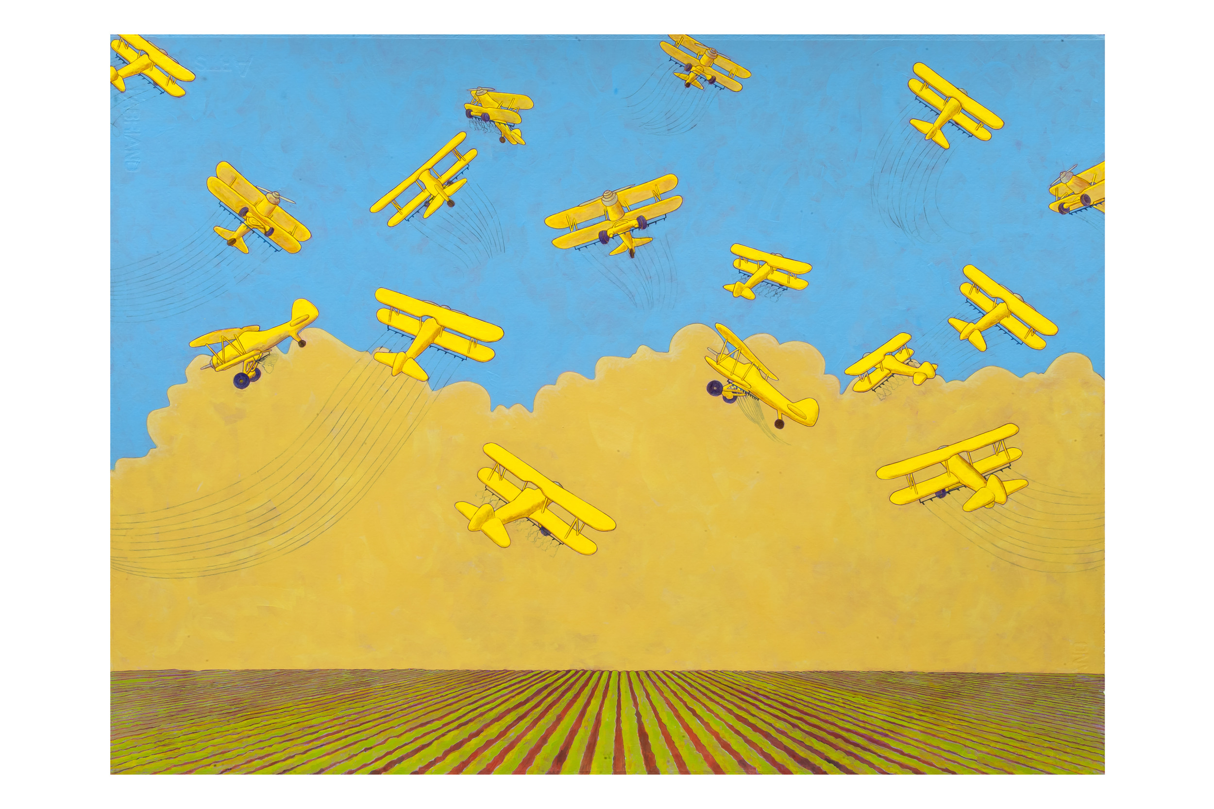 "Crop Dusters,  2012 Acrylic on paper, 22"" x 30"""