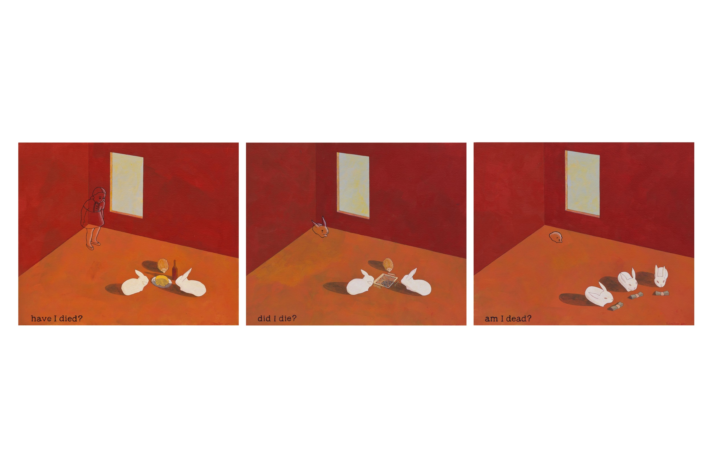 """Small Ghosts,  2011 Acrylic on paper, 9 1/2"""" x 12 1/2"""" each"""