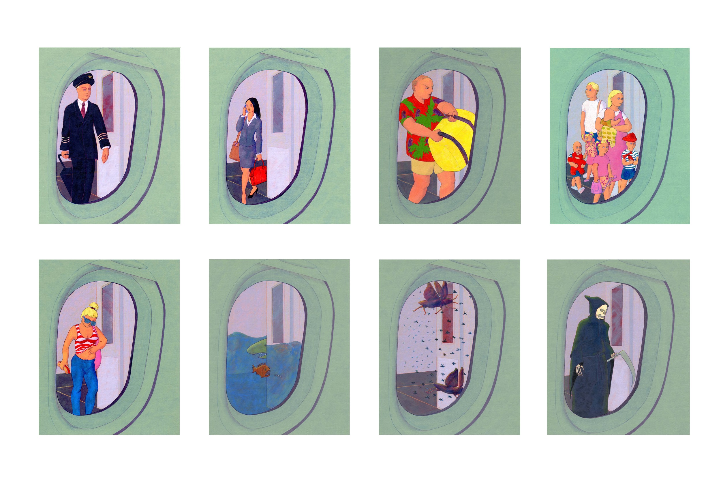 """Final Boarding/The View from 1-A   Acrylic and prismacolor on paper, 10"""" x 8"""" each"""