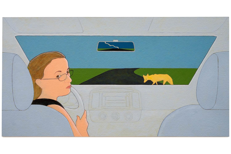 "Denial (coyote crossing),  2014 Self-portrait,Acrylic on paper, 9.5"" x 18"""