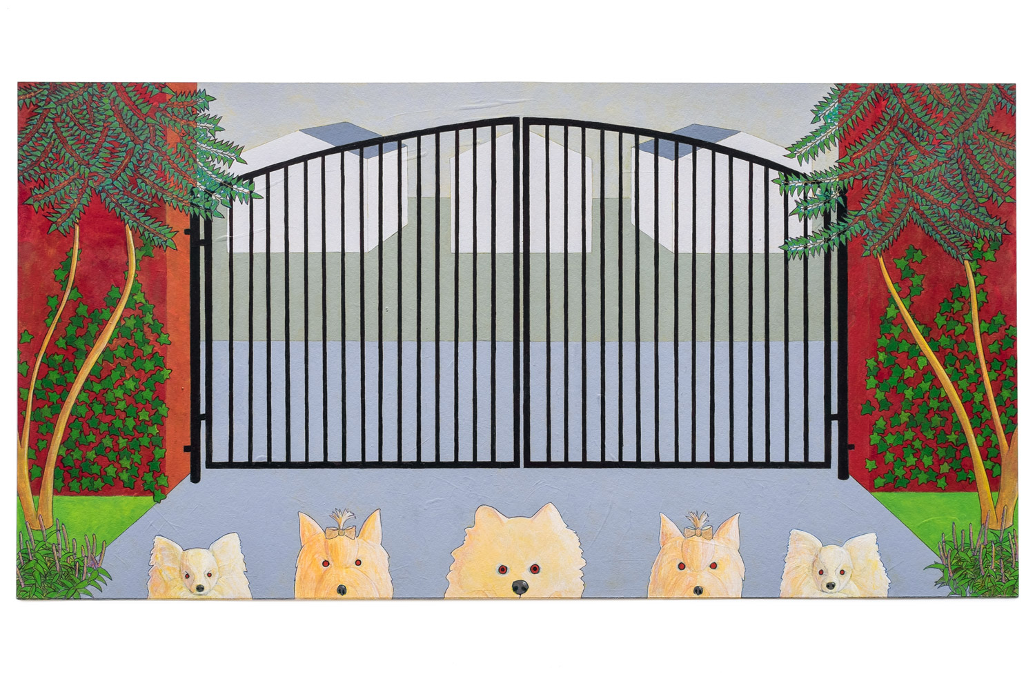 "Dog Gate , 2014  A crylic on paper, 11"" x 21"""