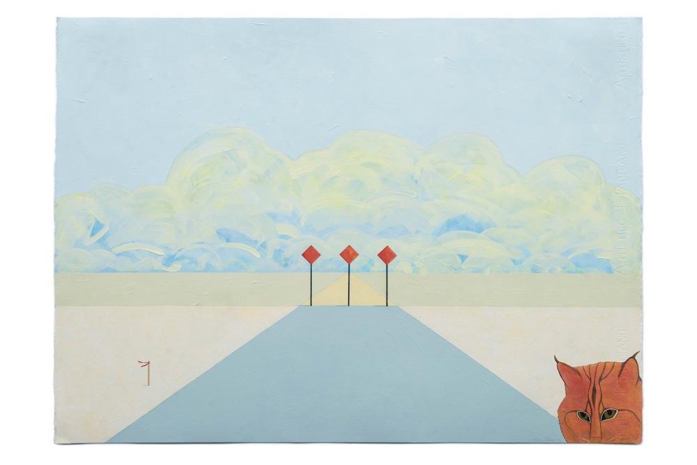 "On the Horizon,  2016 Acrylic on paper, 22"" x 30"""
