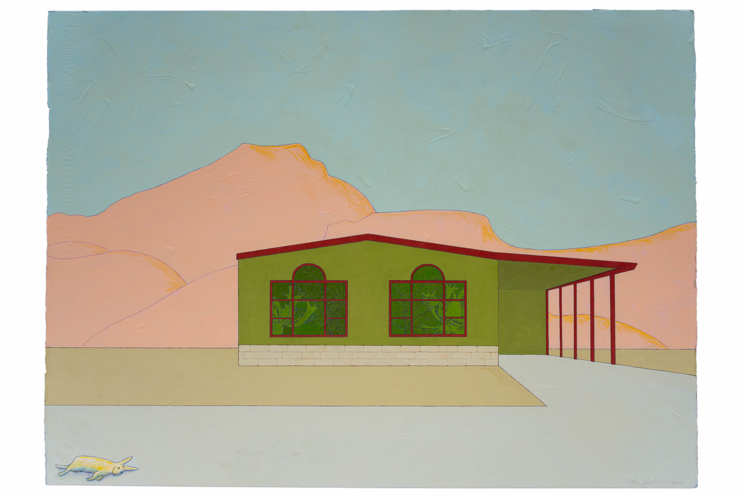 "Green House,  2018 Acrylic on paper, 22"" x 30"""