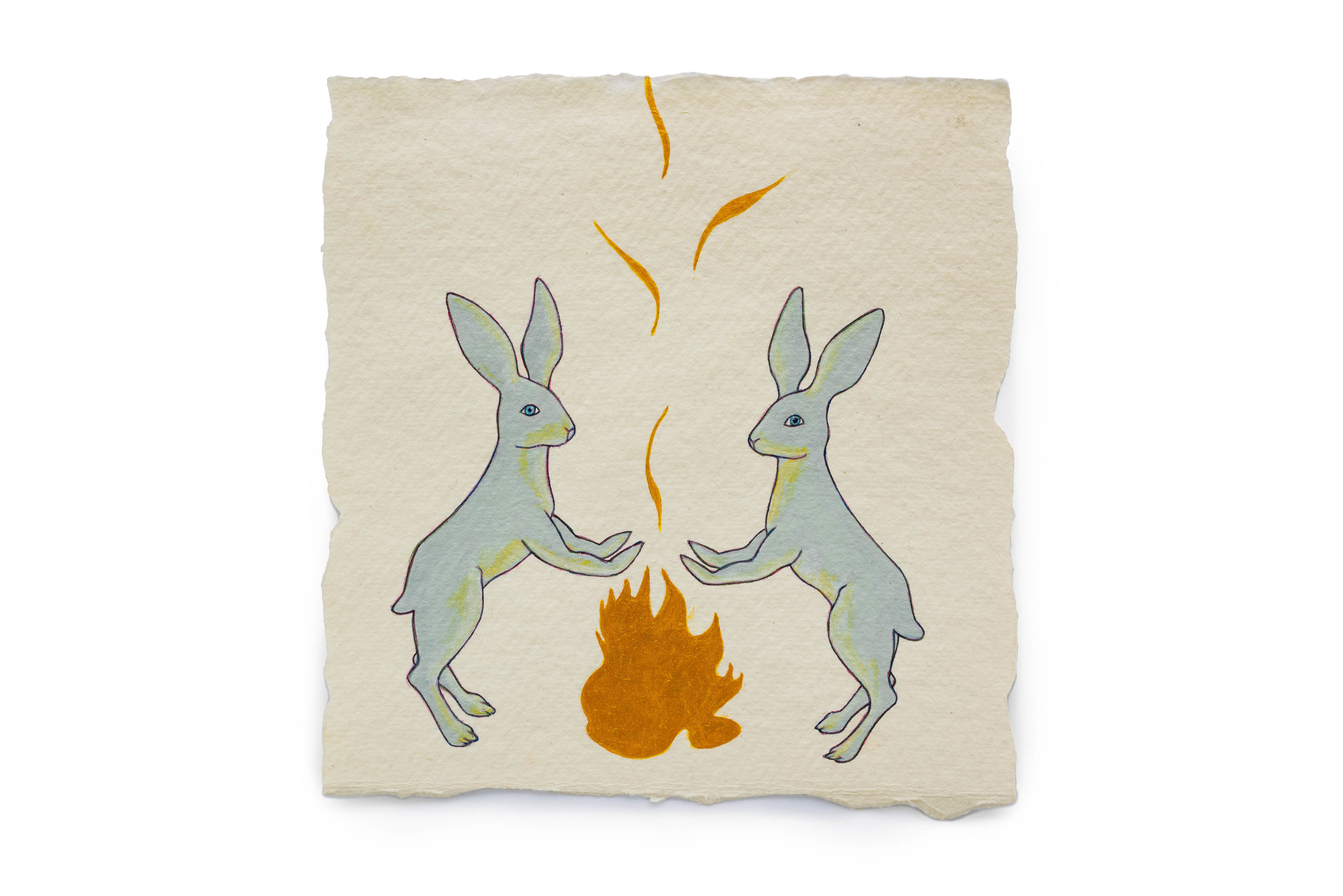 "Fire Diary (Flaming Rabbits),  2018 Acrylic on paper, 6"" x 6"" each"