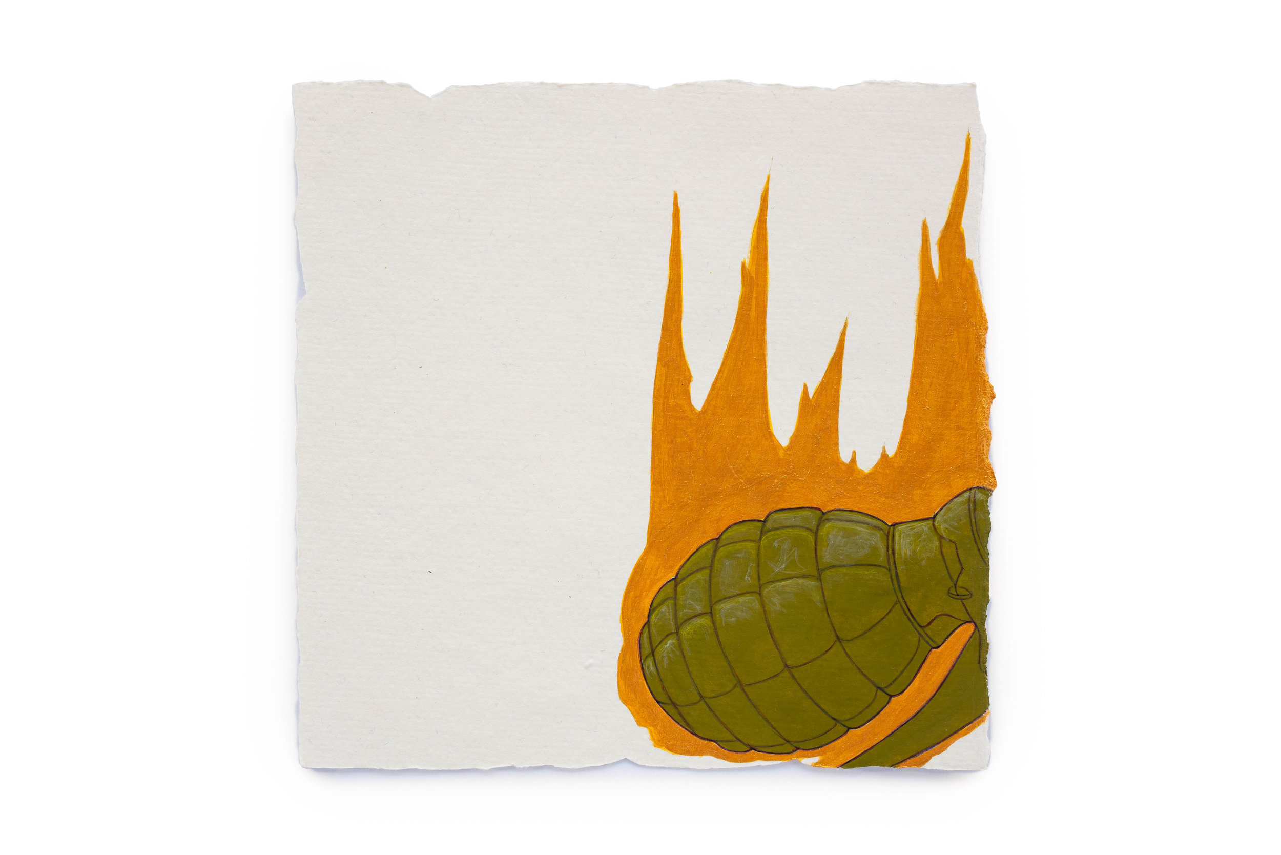 """Fire Diary (Flaming Grenade),  2018 Acrylic on paper, 6"""" x 6"""""""