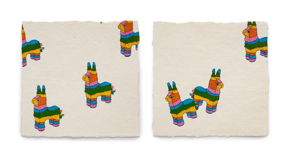 "Fire Diary (Piñatas),  2018 Acrylic on paper, 6"" x 6 each"
