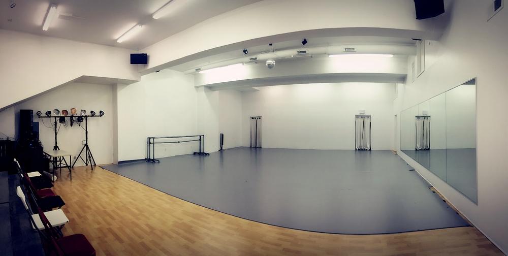 Grey marley, ballet barres, speaker system, lighting equipment