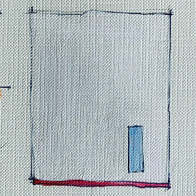 """A little blue window . 2.25"""" x 2.5"""" #tinyboxes #whiteonwhite #minimal"""
