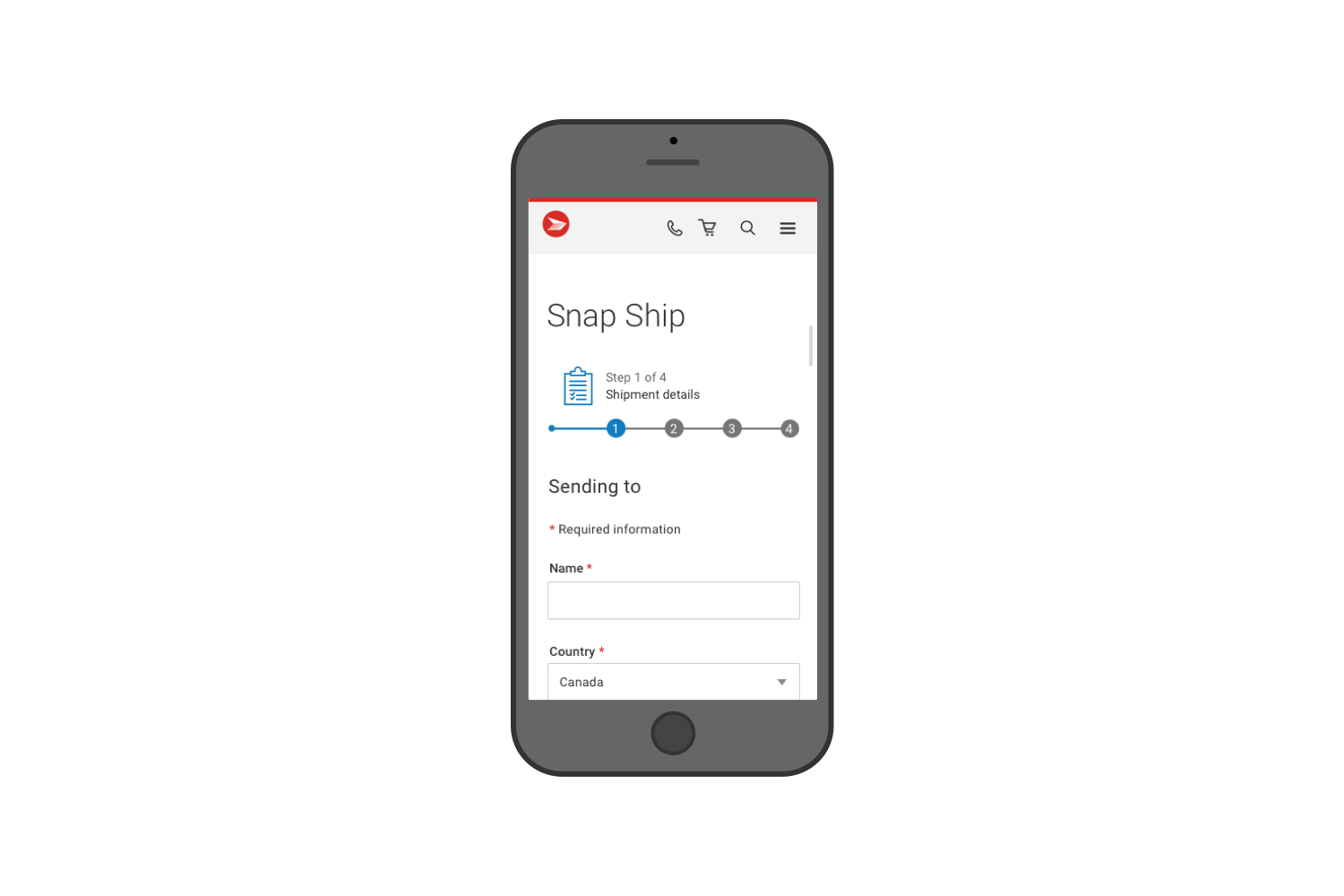 Mobile responsive view of Step 1