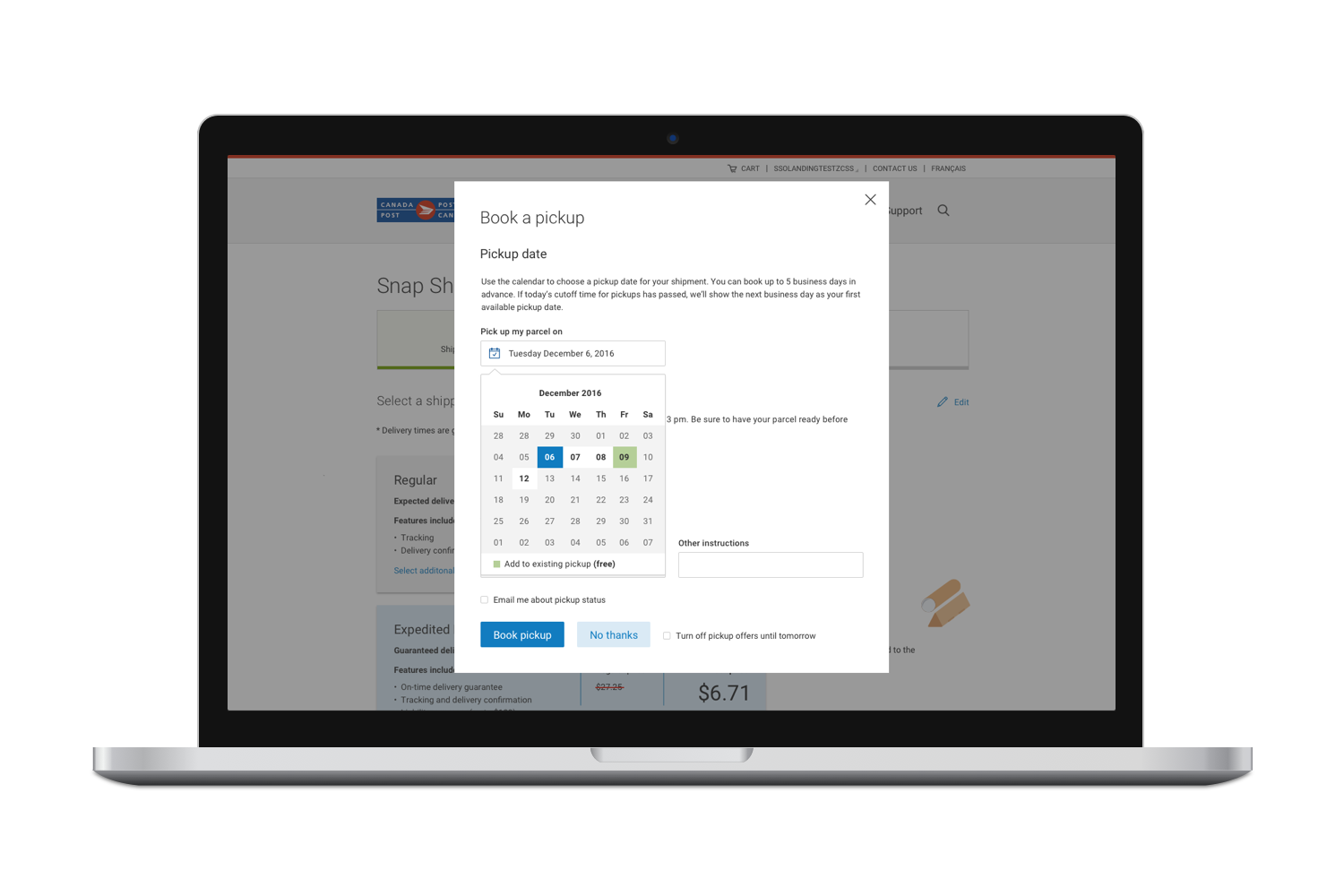 Integrated pickup booking tool