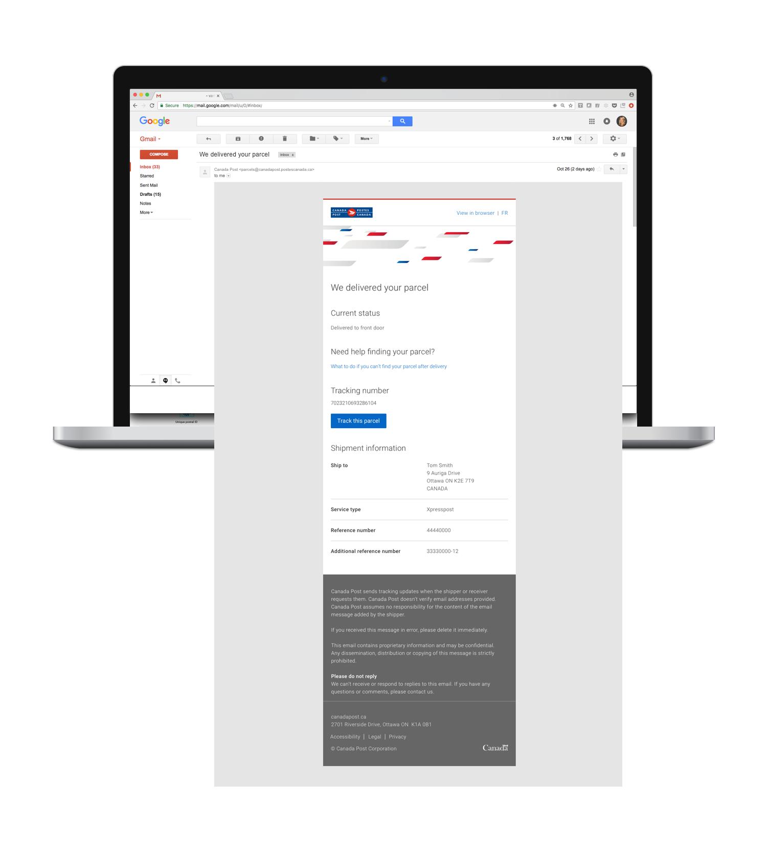 Parcel delivery notification - desktop view