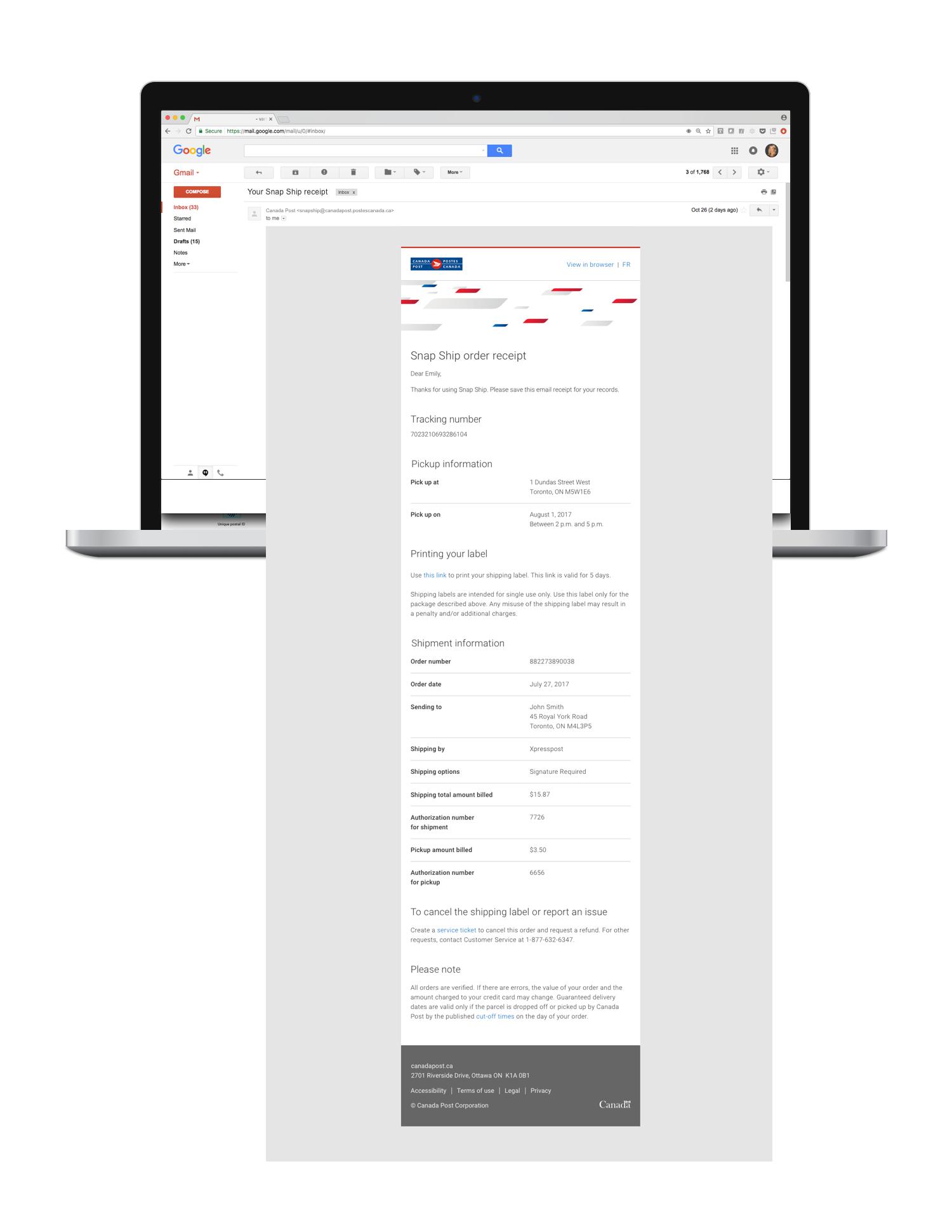Transactional email - SnapShip order receipt