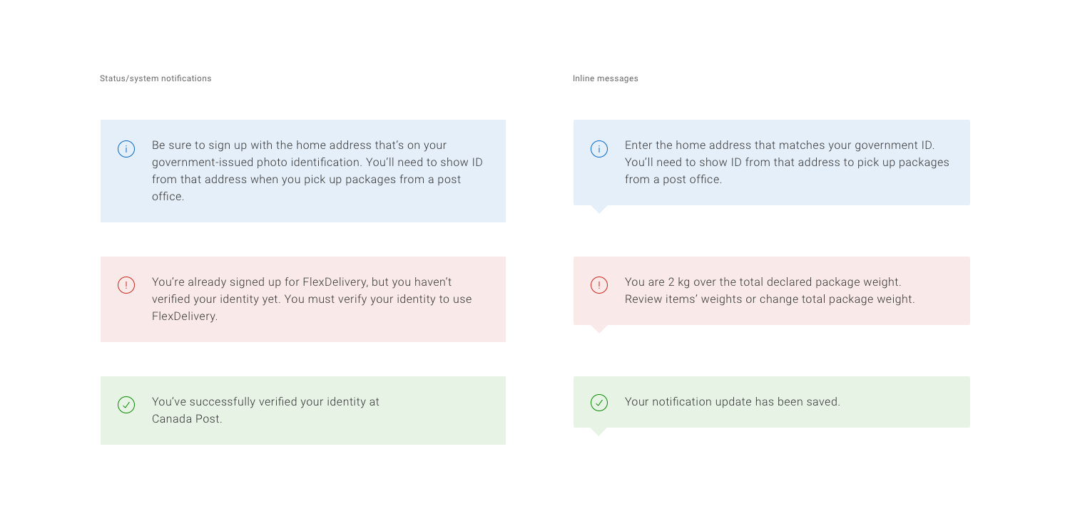 Patterns for notifications