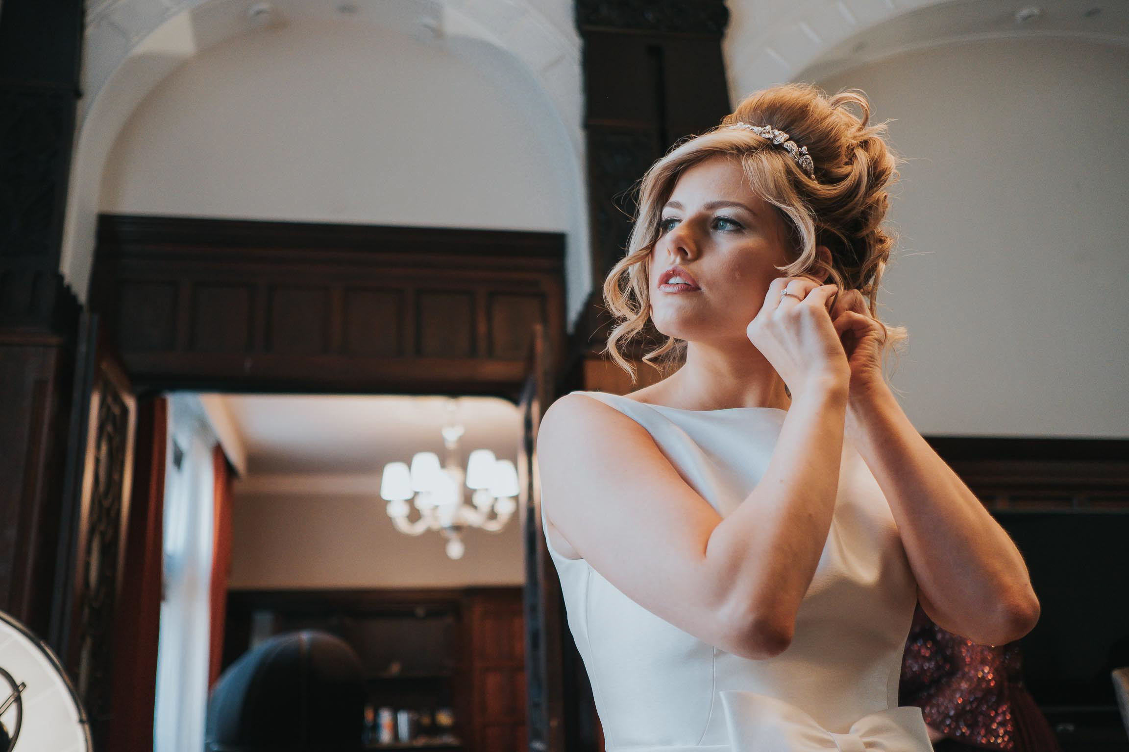bride getting ready for her wedding day in liverpool