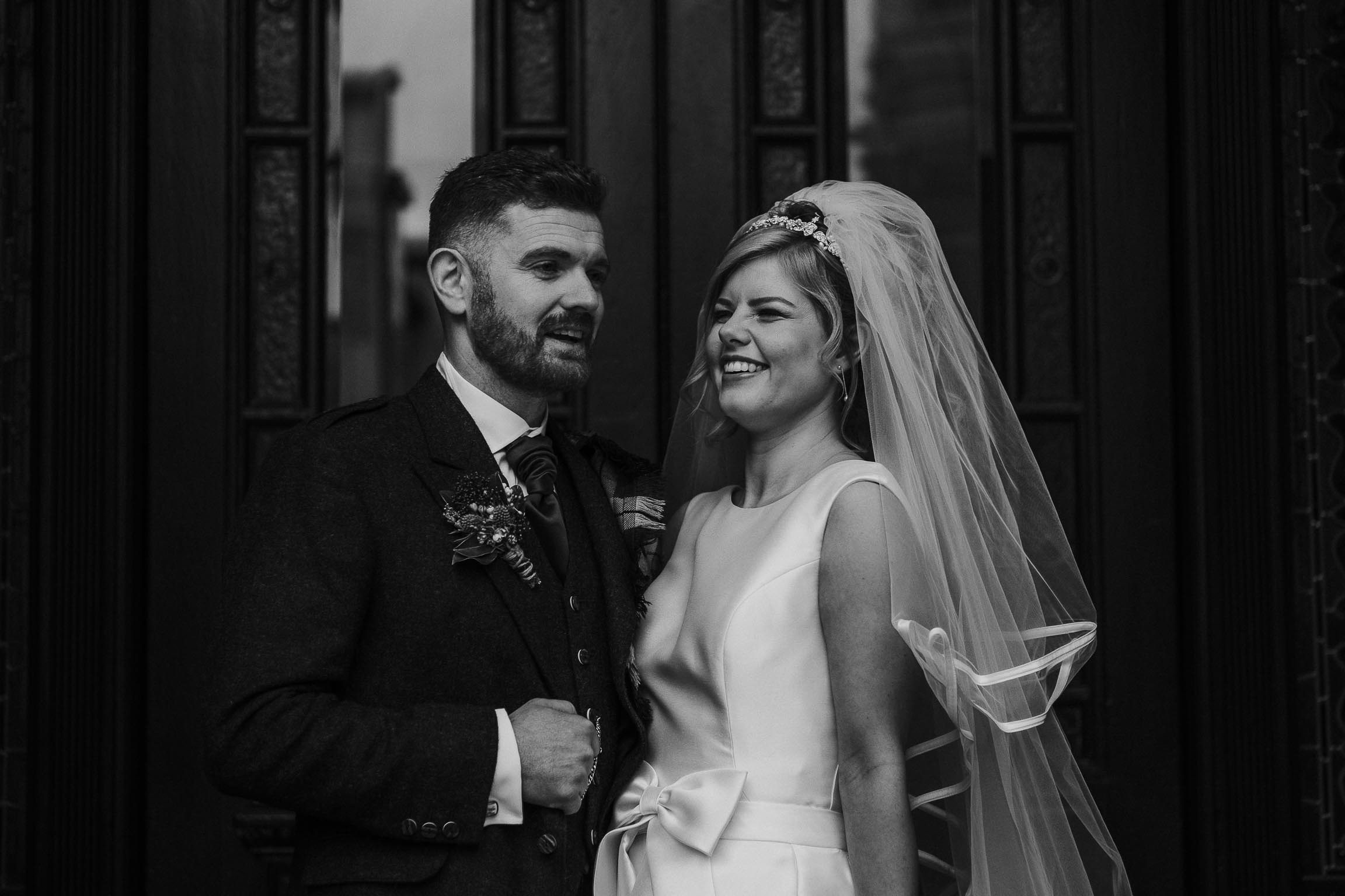 black and white images of bride and groom in Liverpool