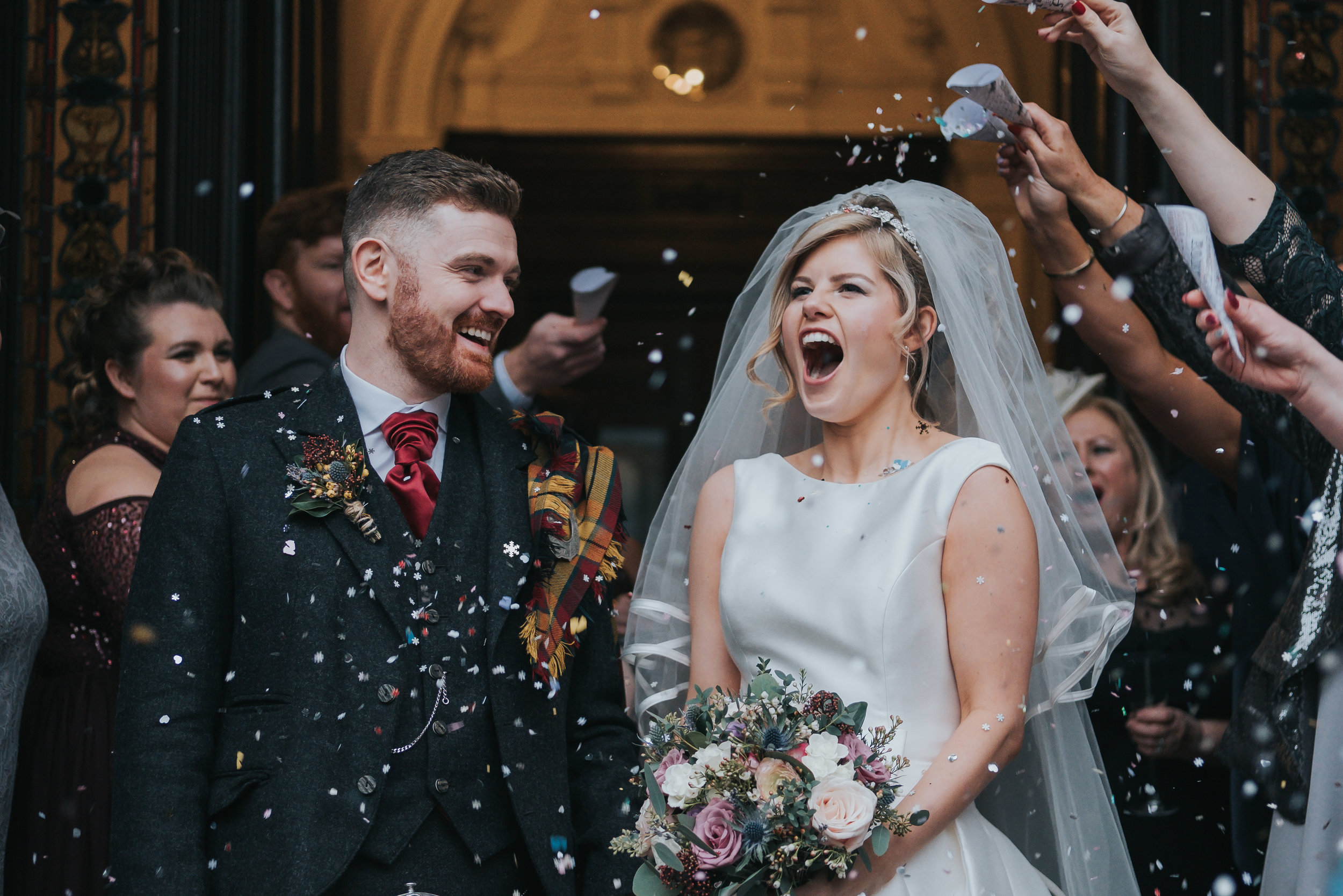 huge confetti shot on the wedding day at the Double Tree by Hilton in Liverpool City Centre