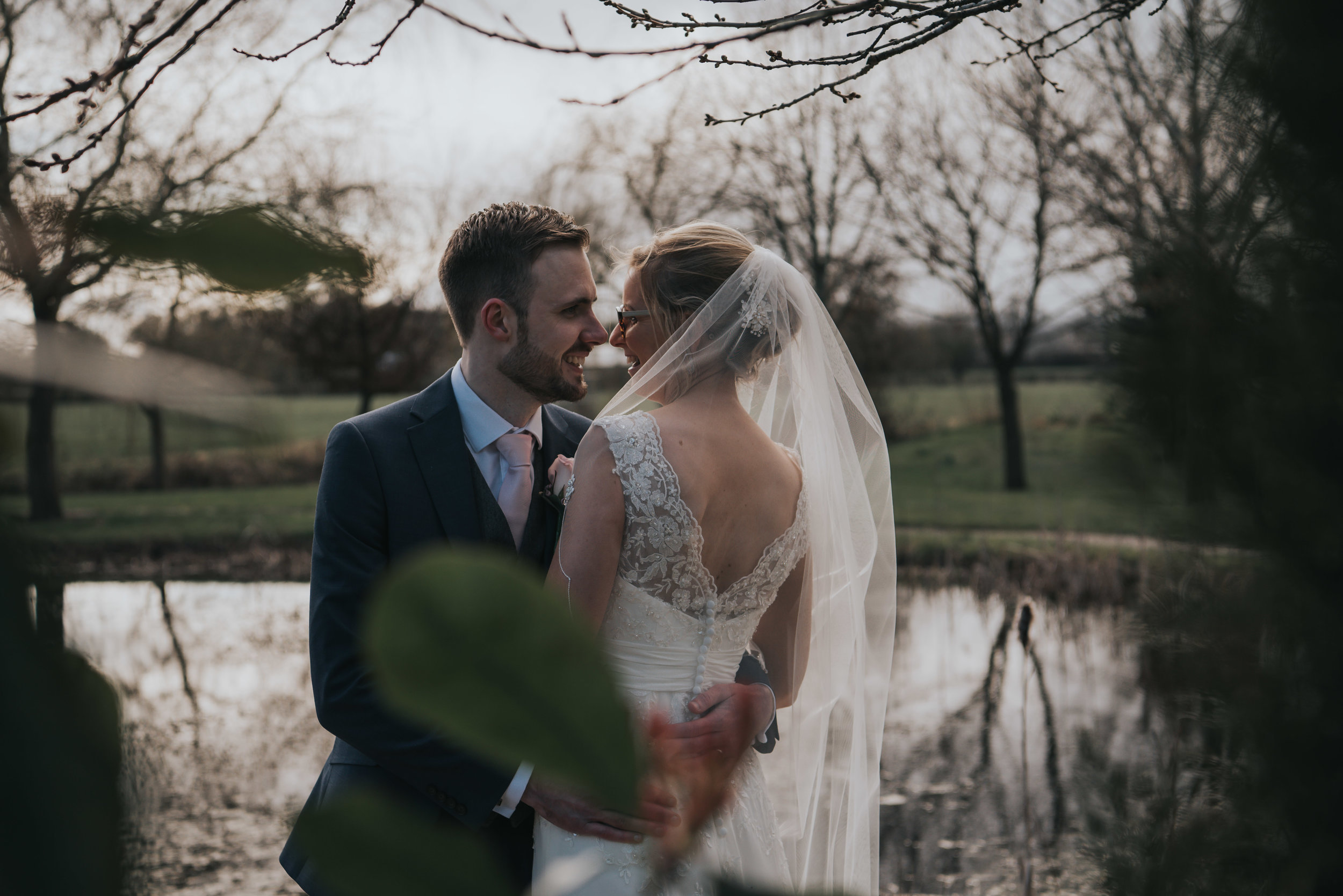 spending a moment alone at the Grosvenor Pulford during their wedding