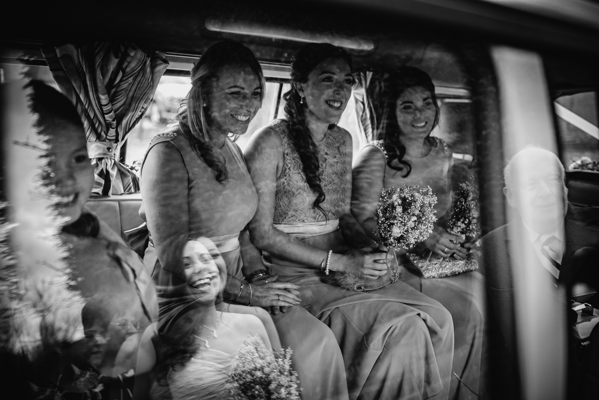 bride and her bridesmaids on the way to Alcumlow Hall Farm for her wedding day
