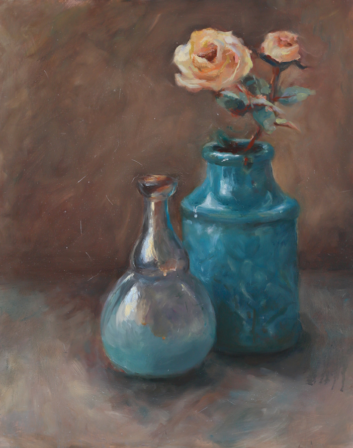 Blue Vase and Yellow Roses