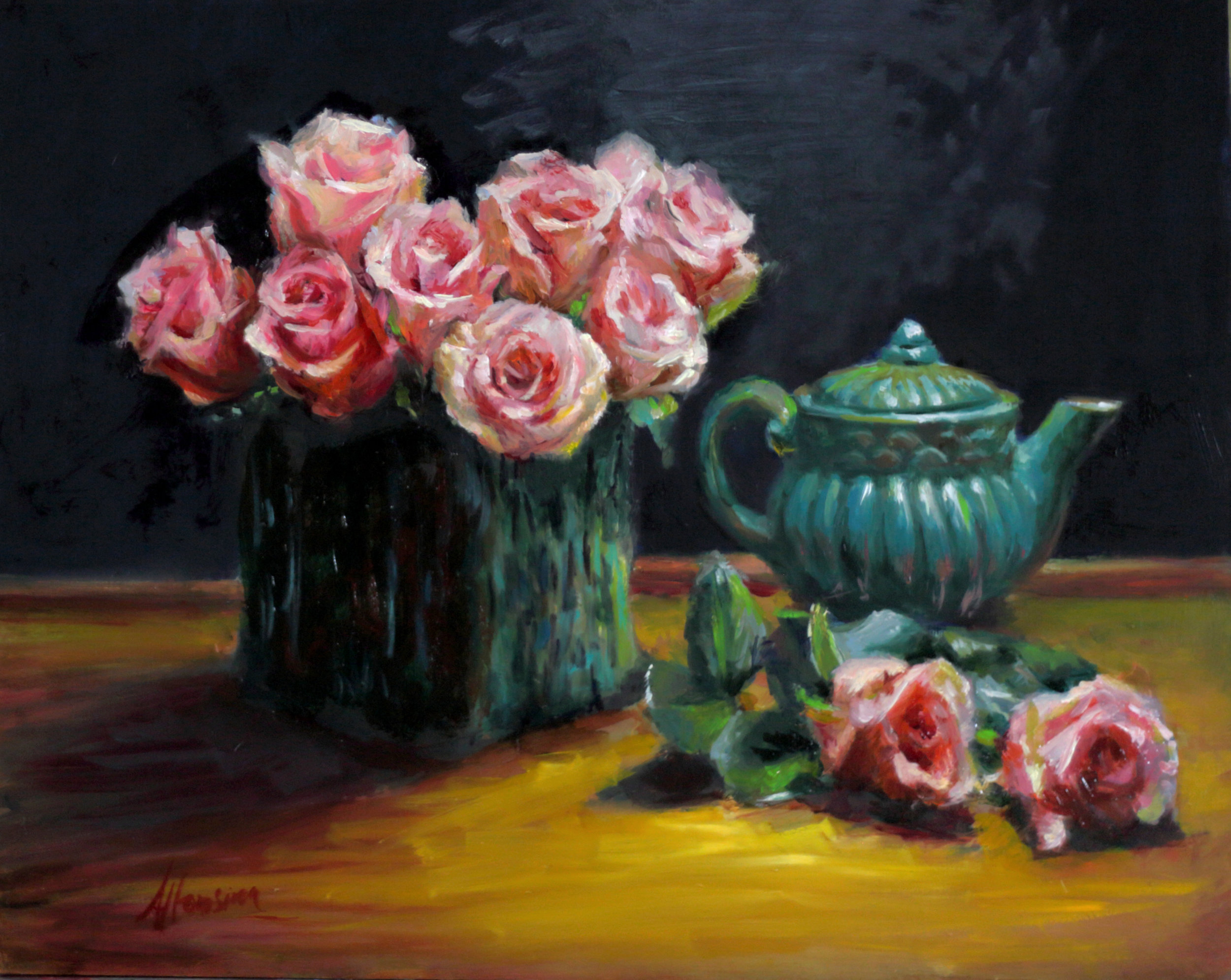 Roses and teapot